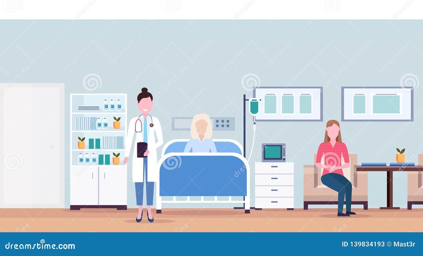 女性参观耐心资深妇女说谎的床密集的疗法病区医疗保健概念医房的医生和女孩