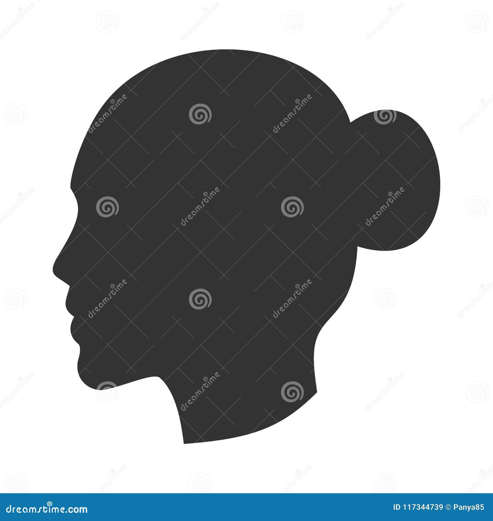 女性头,在外形,侧视图的妇女面孔剪影