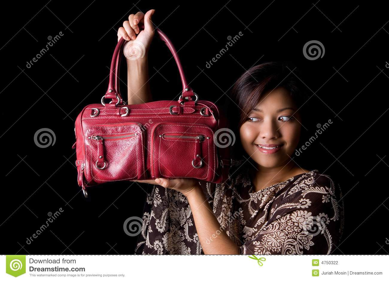 女性手袋她皮革新红色陈列