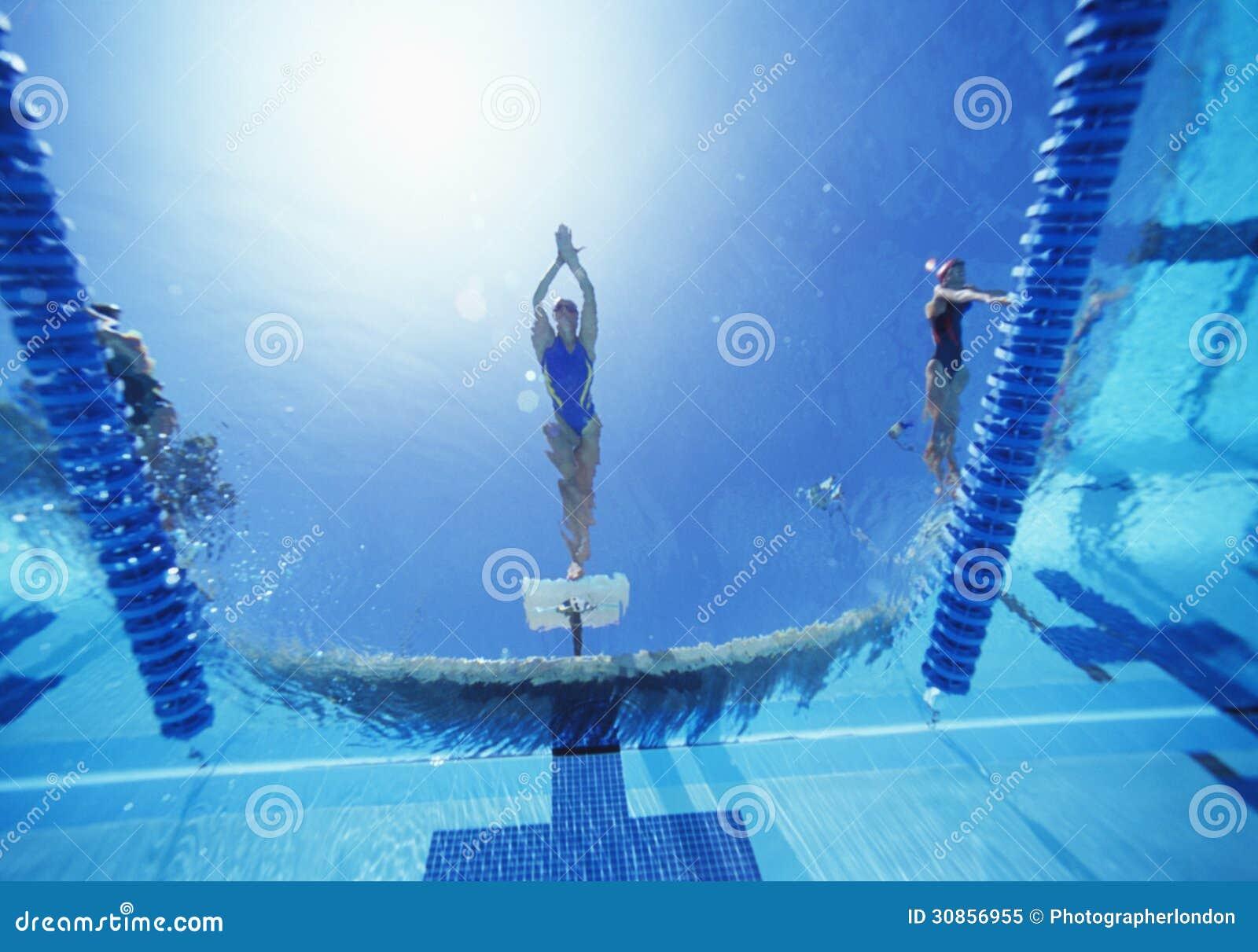 女性游泳者潜水看法在游泳池的