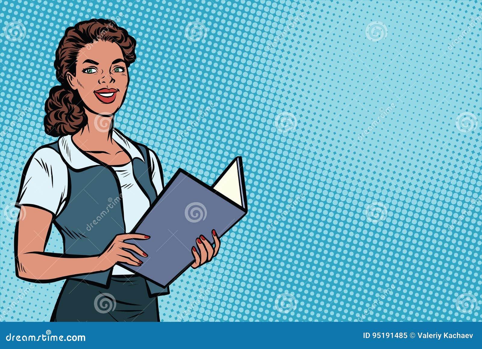 女性秘书,非裔美国人,流行艺术例证