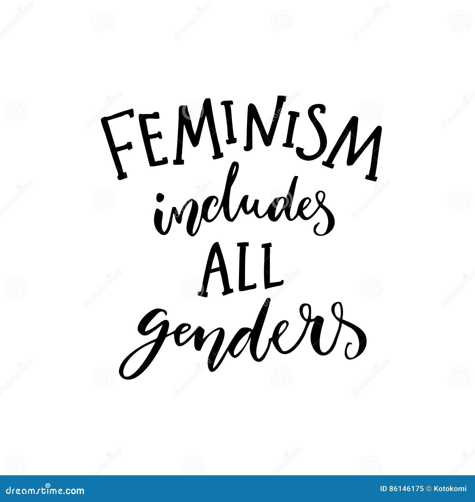 女权主义包括所有性别 关于妇女和人的平等的女权说法 激动人心的行情,现代书法