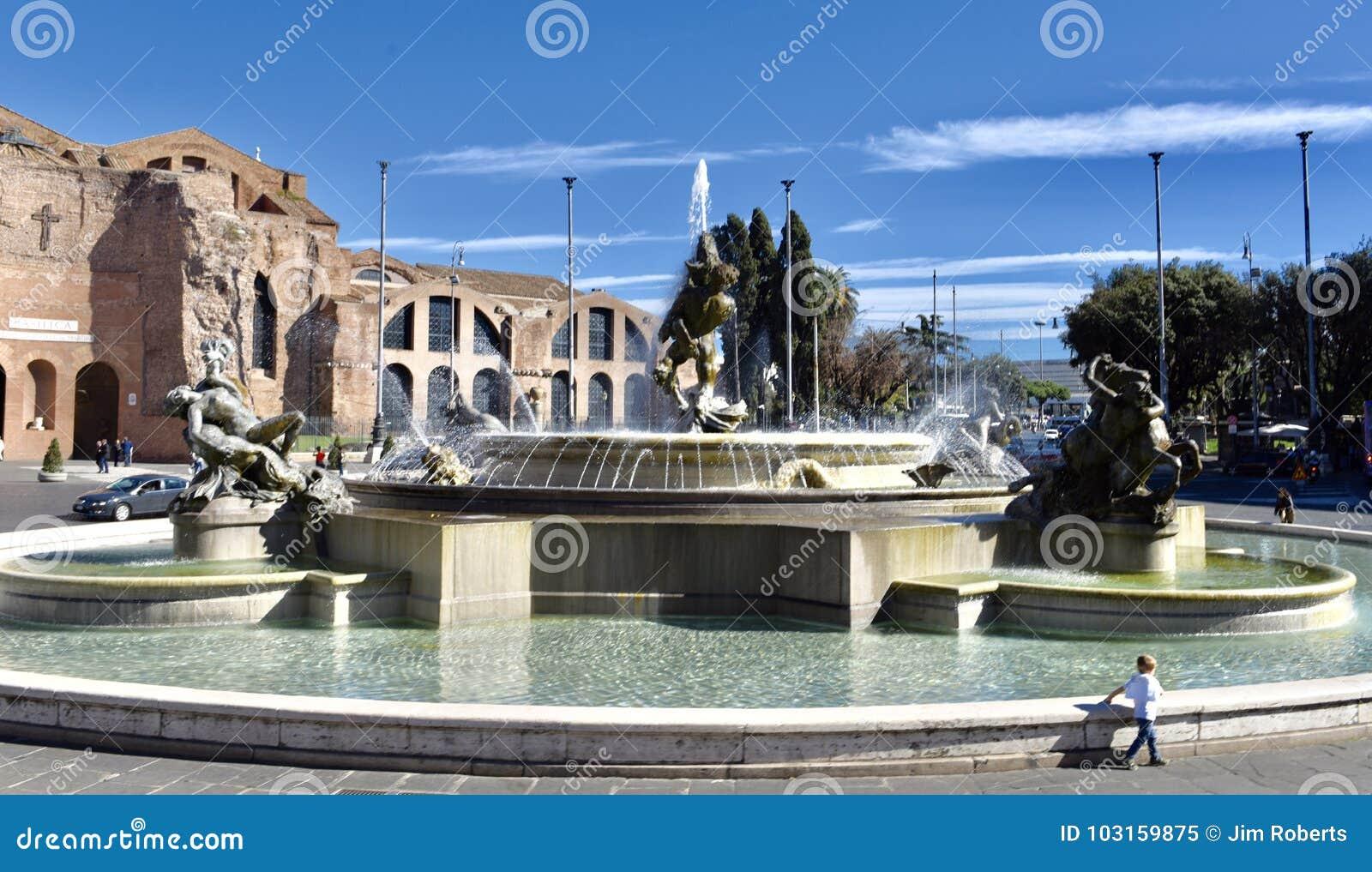 女游泳家的喷泉