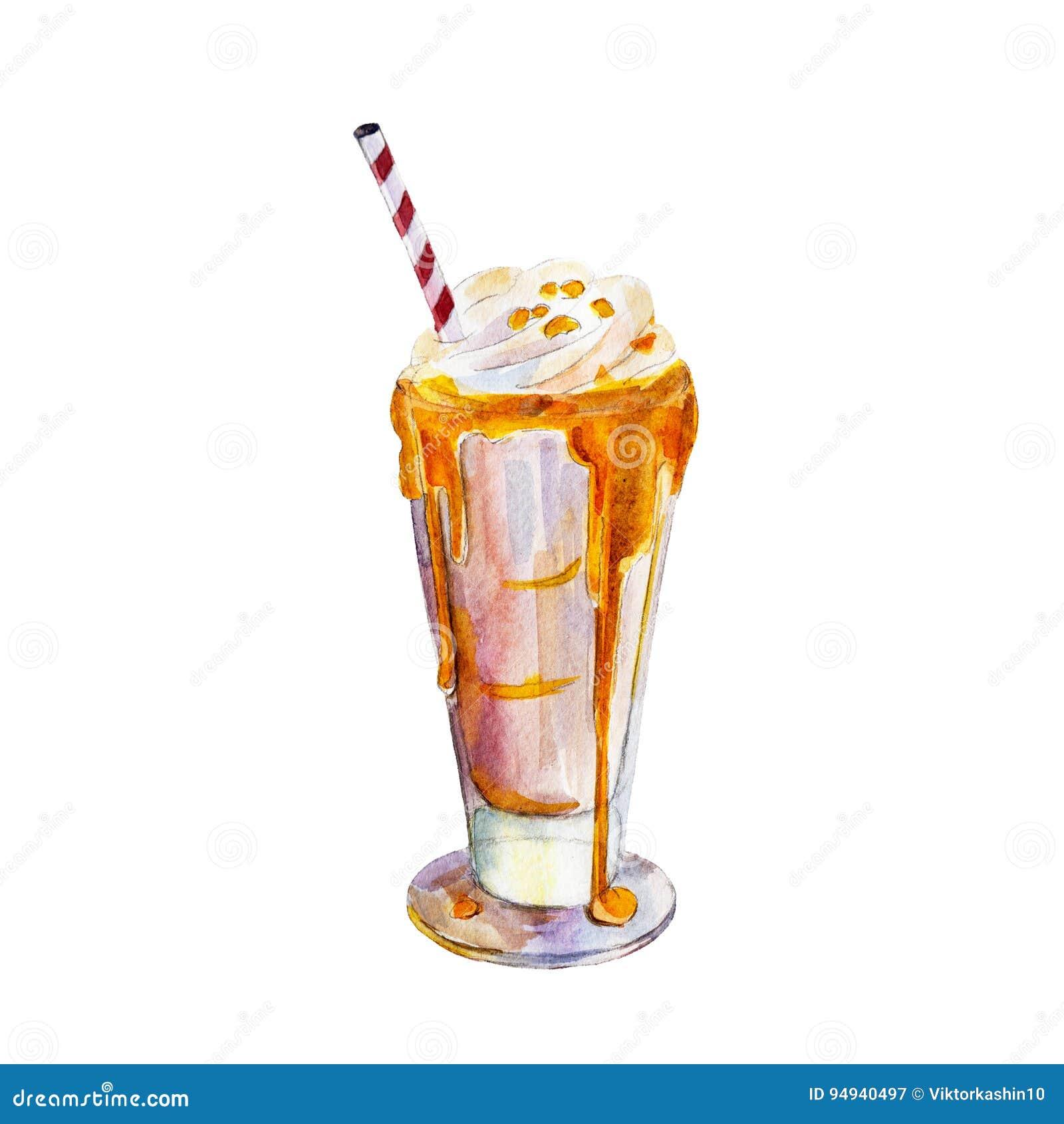 奶昔用焦糖和冰淇凌,水彩例证