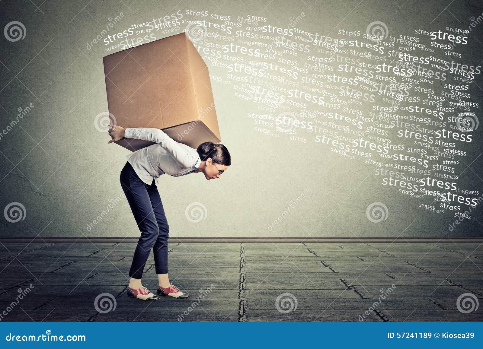 继续她的大箱子的被注重的妇女