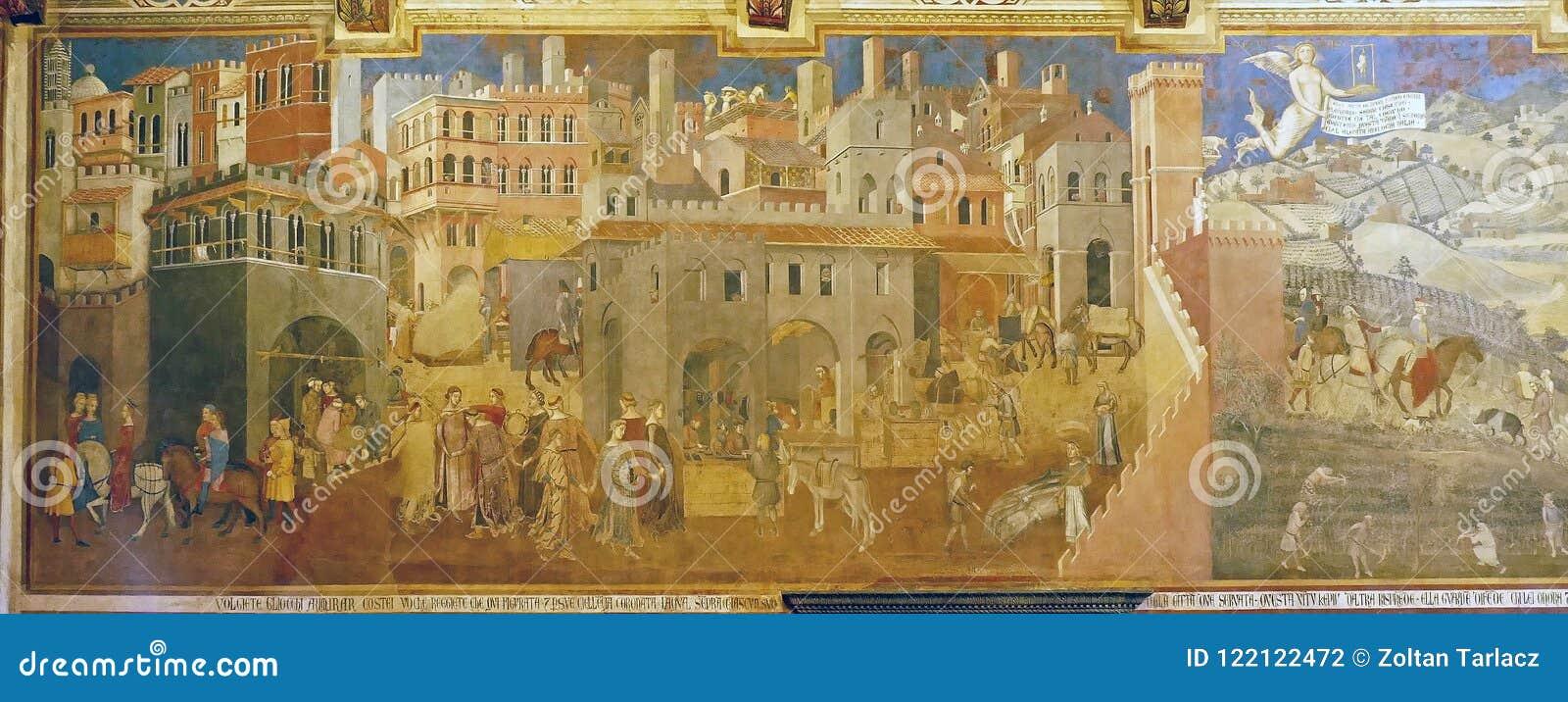 S And B Filters >> 好政府的原始的壁画`作用的照片对城市和Countr ` Ambrogio Lorenzetti 图库摄影片 - 图片 ...