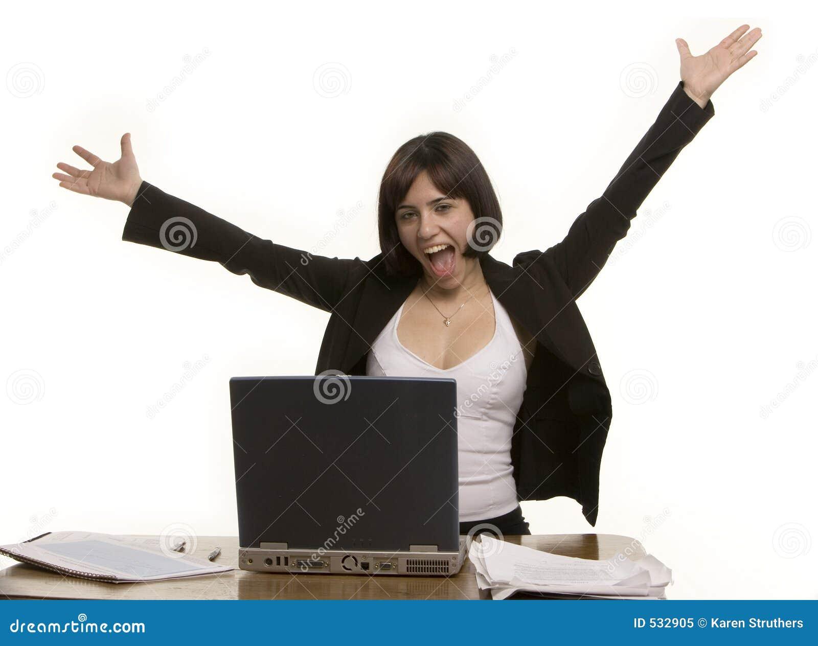 Download 好消息 库存图片. 图片 包括有 愉快, 女性, 欢呼, 执行委员, 新闻, 有吸引力的, 纸张, 膝上型计算机 - 532905