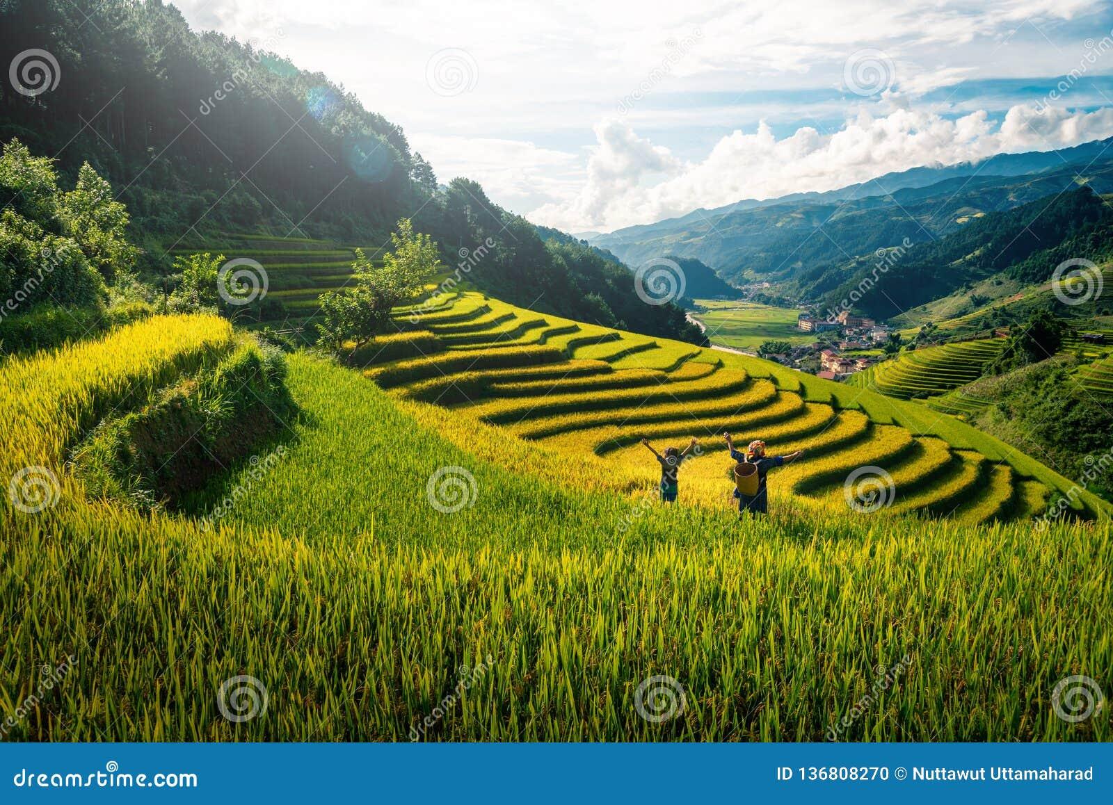 妇女举在米领域的农夫和女儿胳膊露台在日落在Mu Cang柴, YenBai,越南