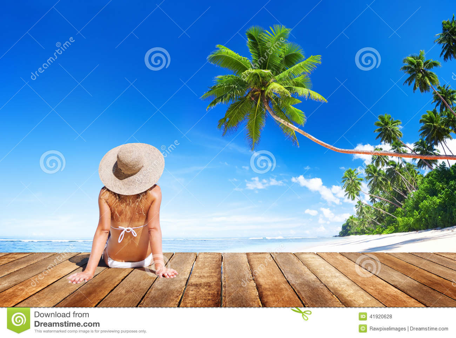 妇女佩带的比基尼泳装在一次暑假