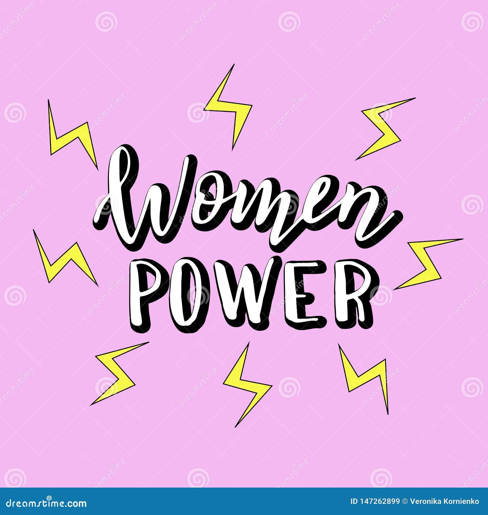 妇女供给与动画片闪电的手写的口号动力 现代女权在上写字的海报 T恤杉的,杯子,贴纸印刷品