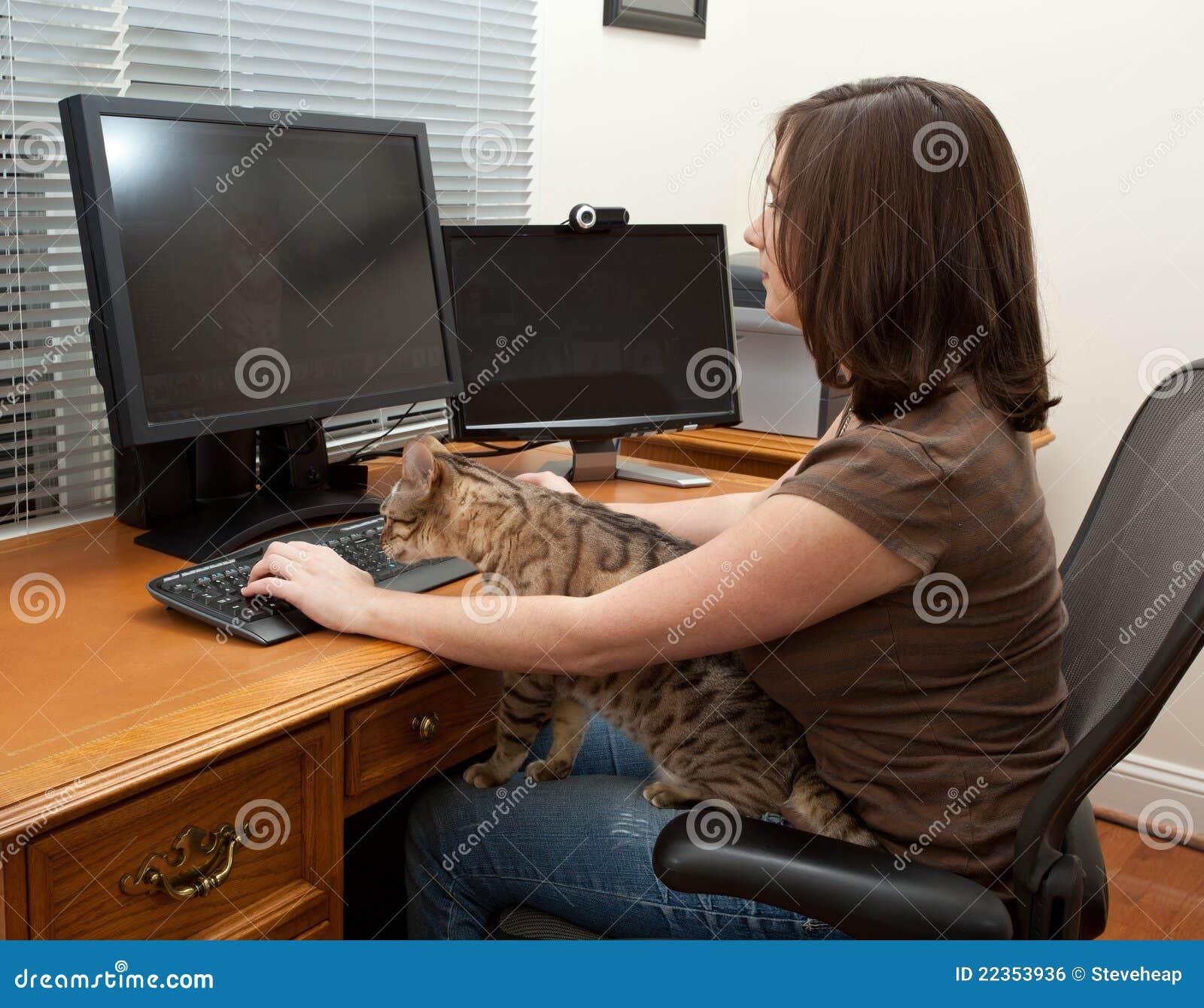 妇女和猫在计算机书桌