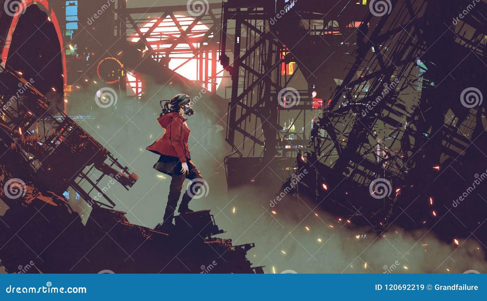 妇女在计算机国际庞克城市