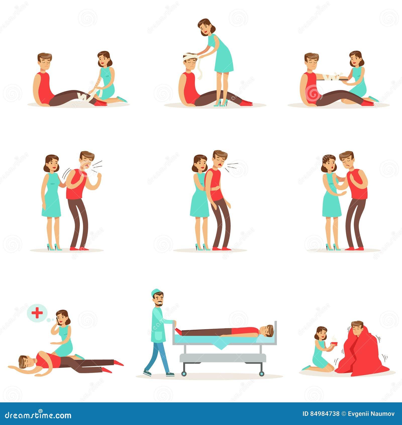 妇女在Infographic例证后的冷杉援助主要和次要紧急治疗做法收藏