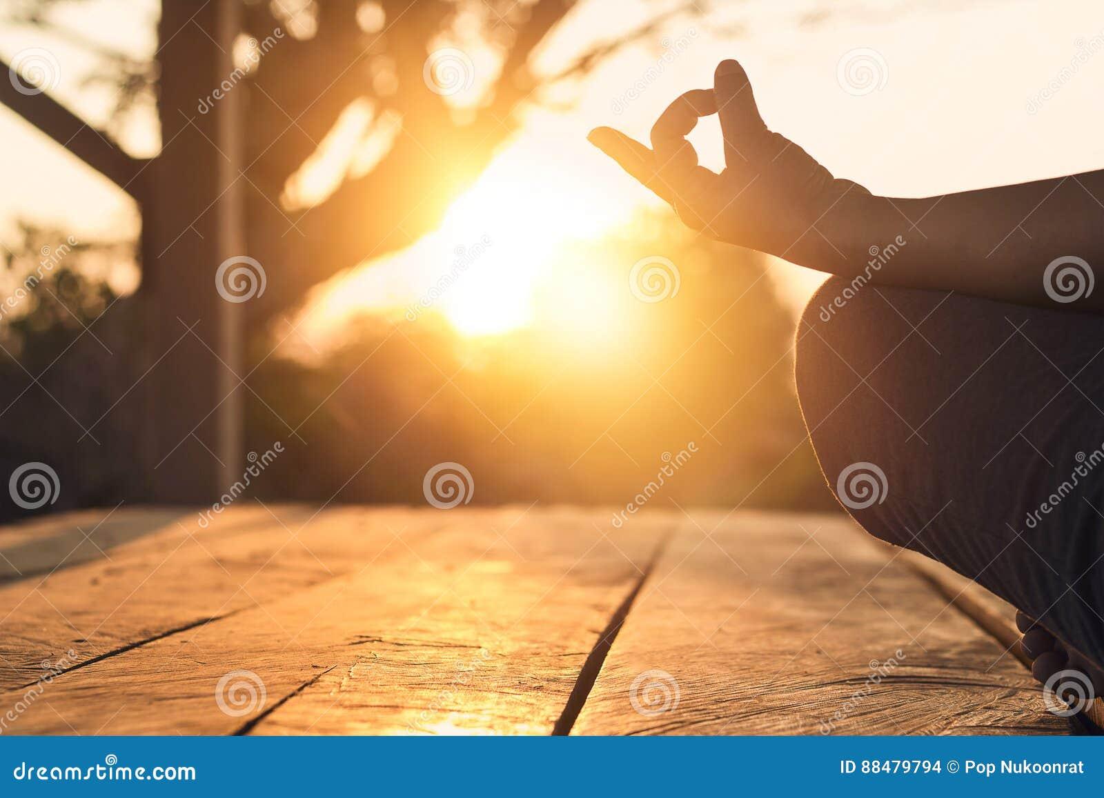 妇女实践的凝思瑜伽的手在自然日落的