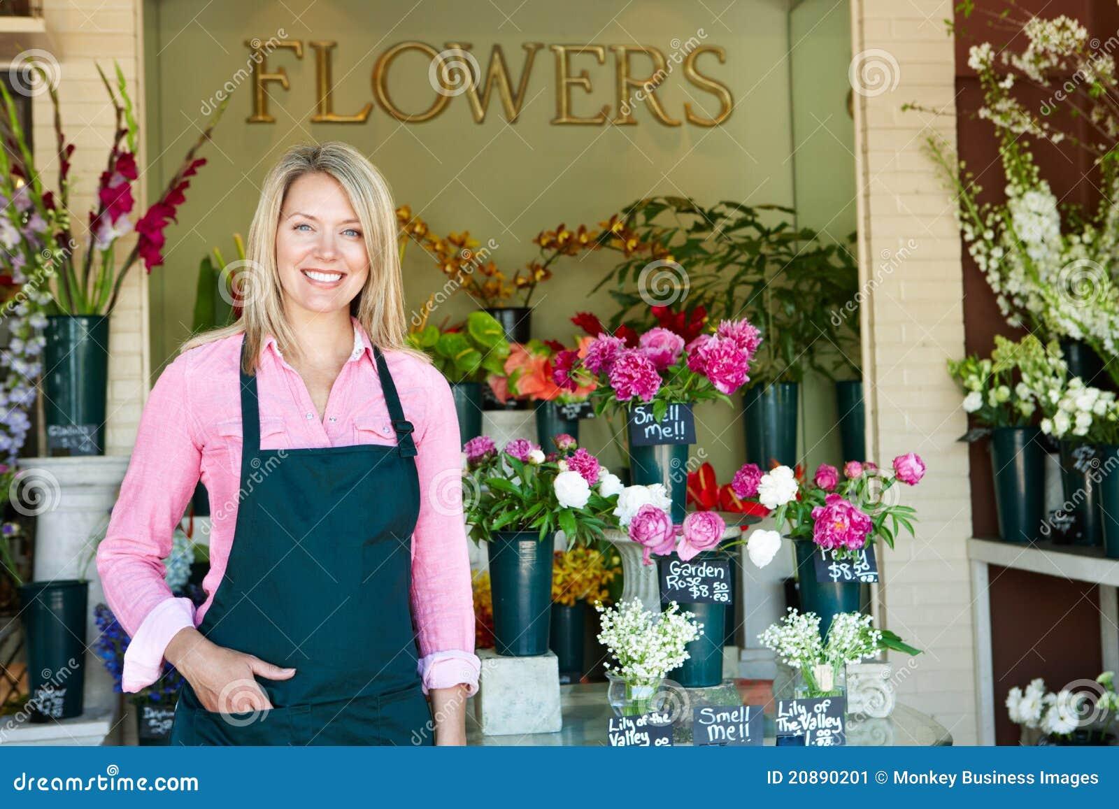 妇女常设外部卖花人