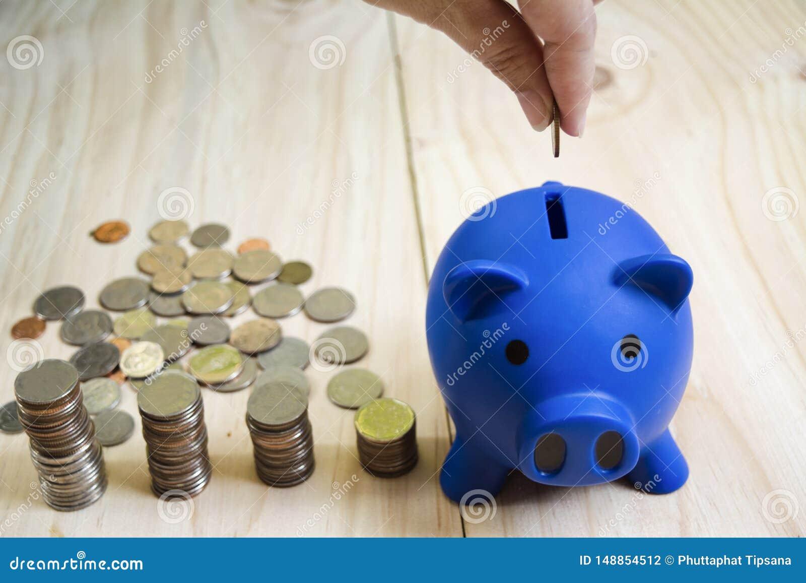 妇女手下落硬币蓝色存钱罐和硬币堆在木地板被安置,与保存和投资的概念财政的