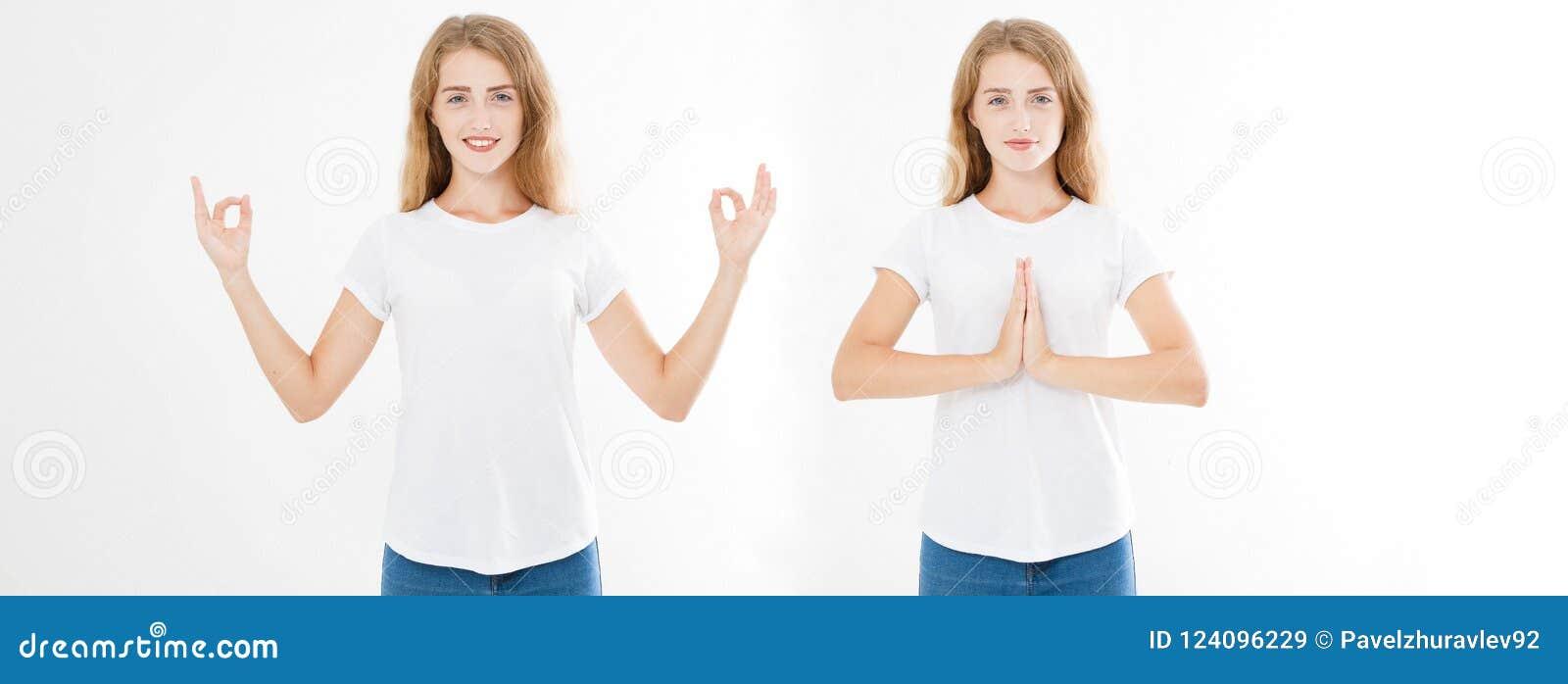 妇女拼贴画有镇静和轻松的表示的,站立在与被涂的胳膊的瑜伽姿势 套俏丽的gir的手特写镜头