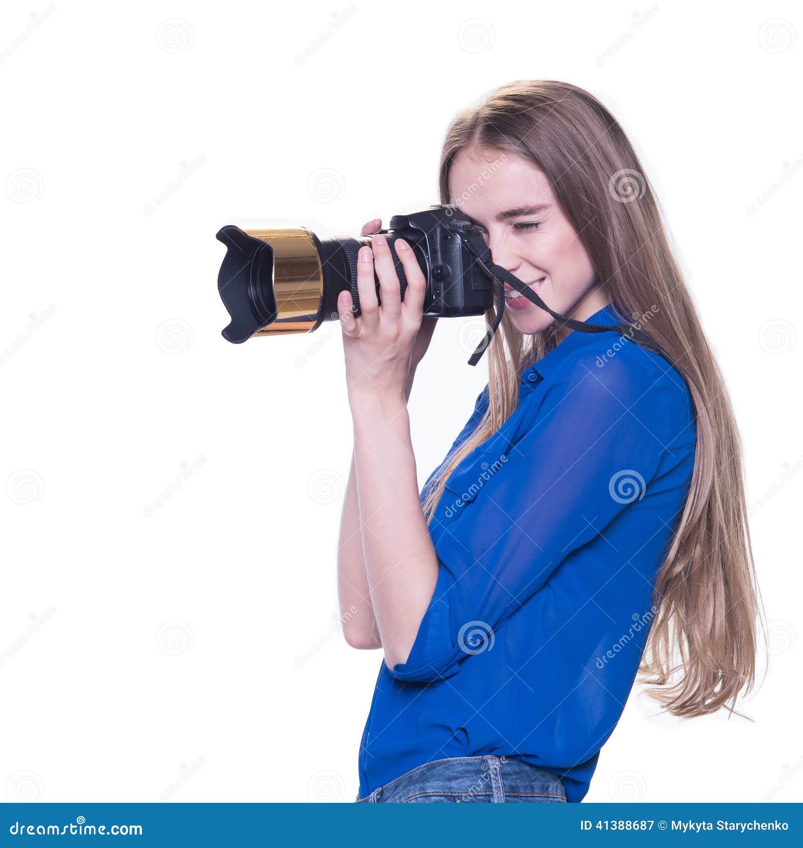 妇女摄影师采取图象,被隔绝