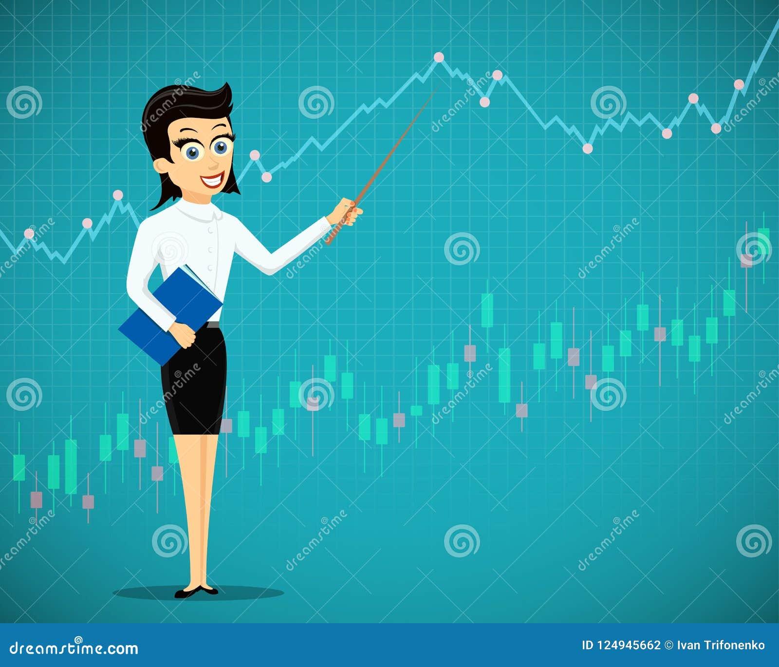 妇女显示财政图表和图 exchan的股票市场