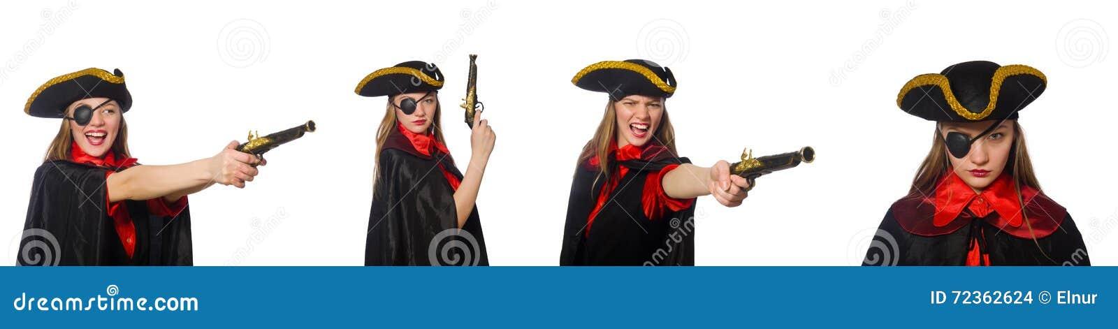 妇女海盗以在白色的各种各样的概念