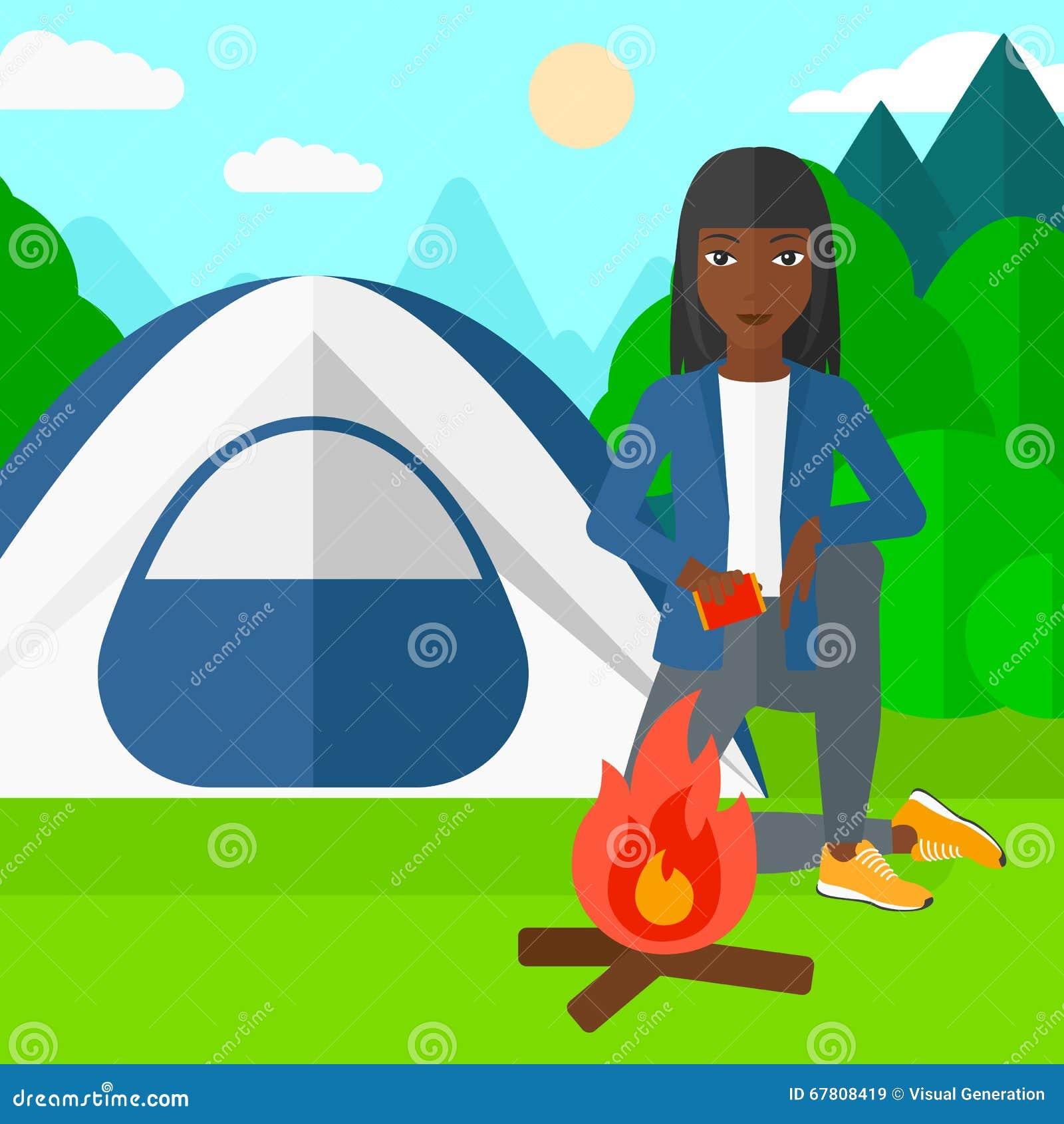 妇女点燃火