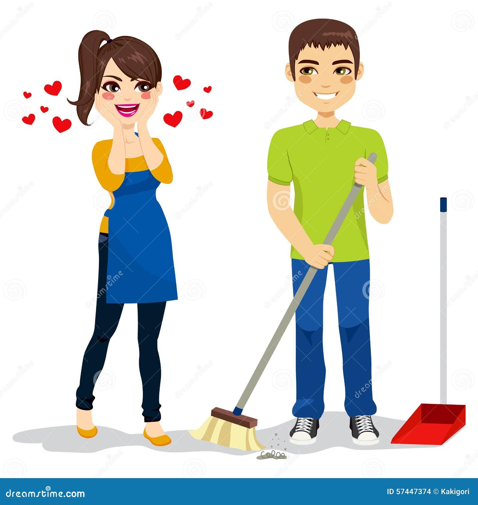 妇女爱男朋友清洁