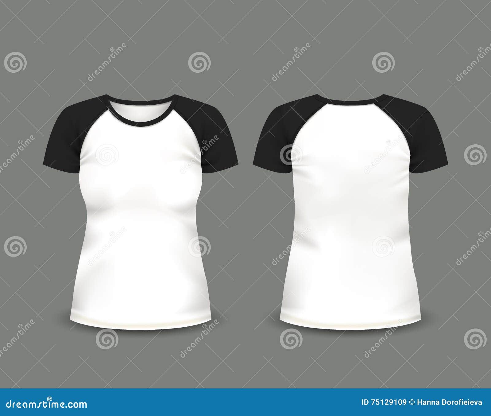 妇女的在前面和后面看法的套袖大衣T恤杉 边界月桂树离开橡木丝带模板向量 充分地编辑可能的手工制造滤网