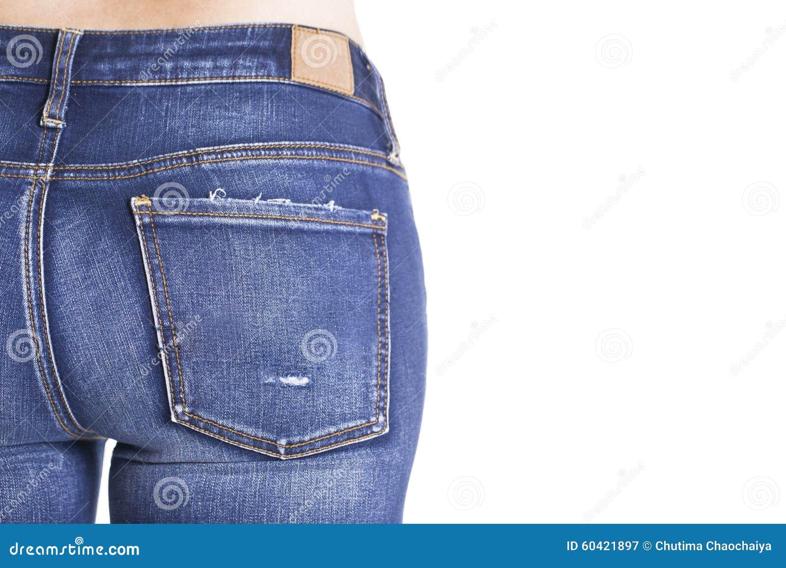 妇女穿蓝色牛仔裤