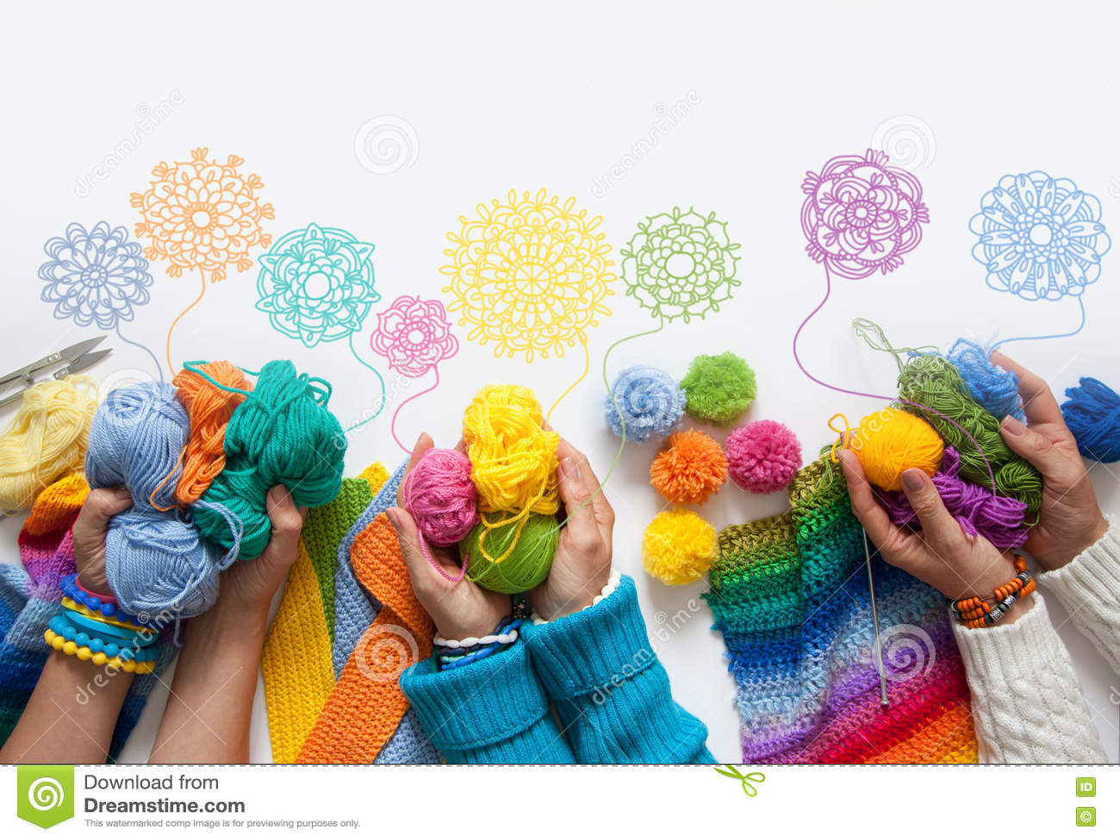 妇女编织和钩针编织色的织品 在视图之上