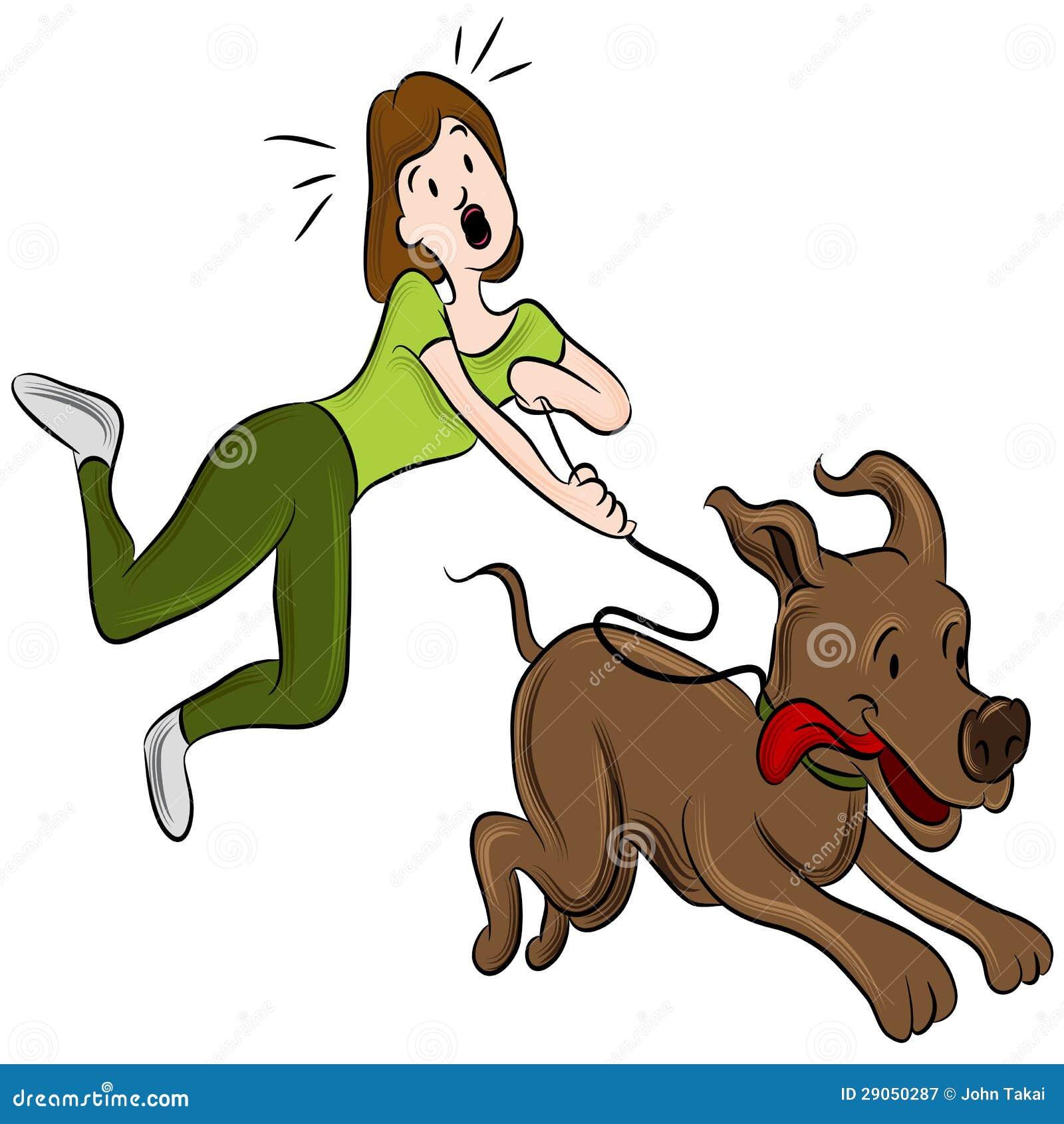 妇女走的狗