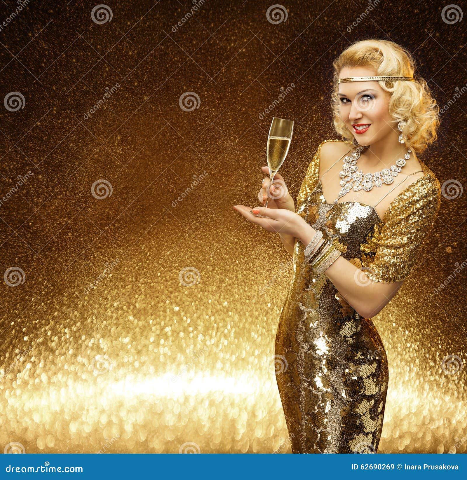 妇女金子, VIP香宾Glass,金黄时装模特儿夫人