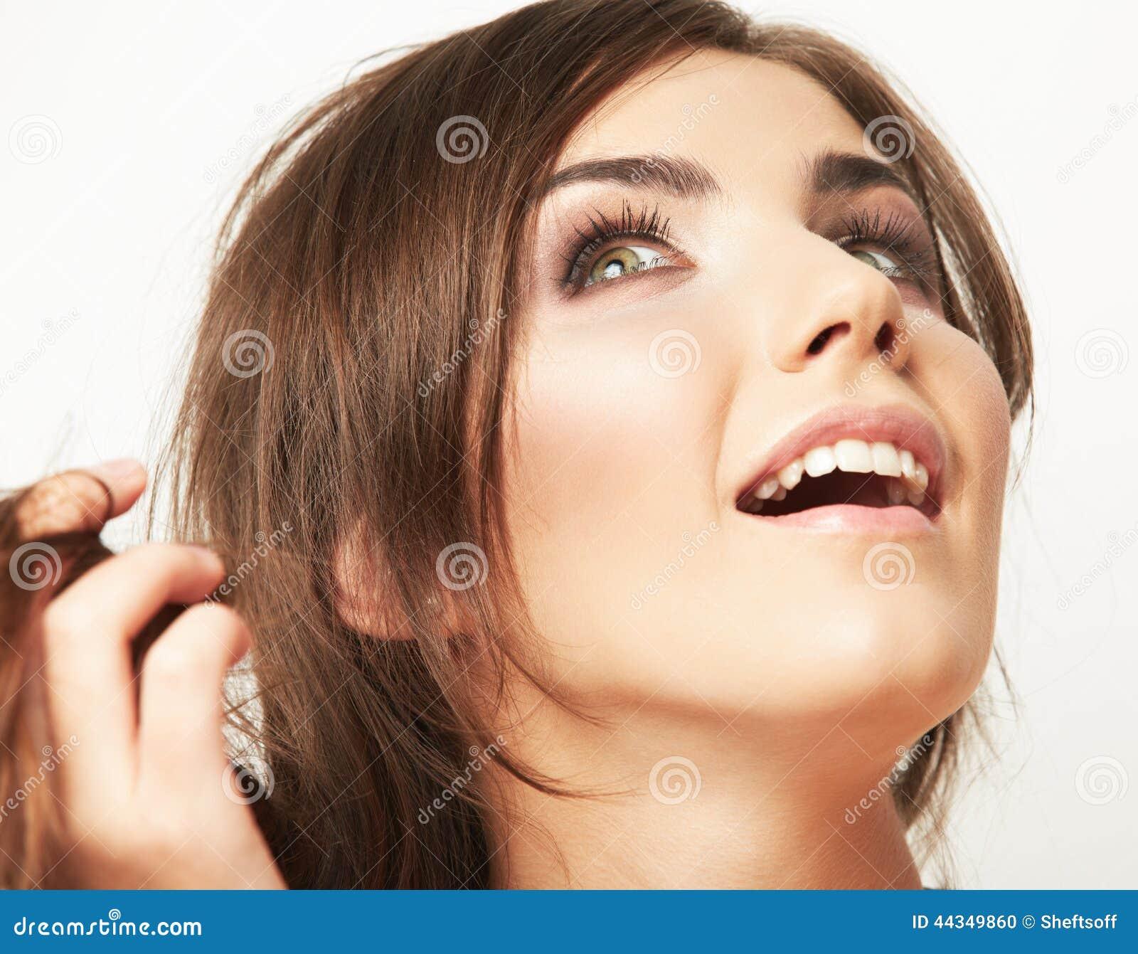 妇女秀丽样式时尚画象 接近的表面女性 长期头发.图片