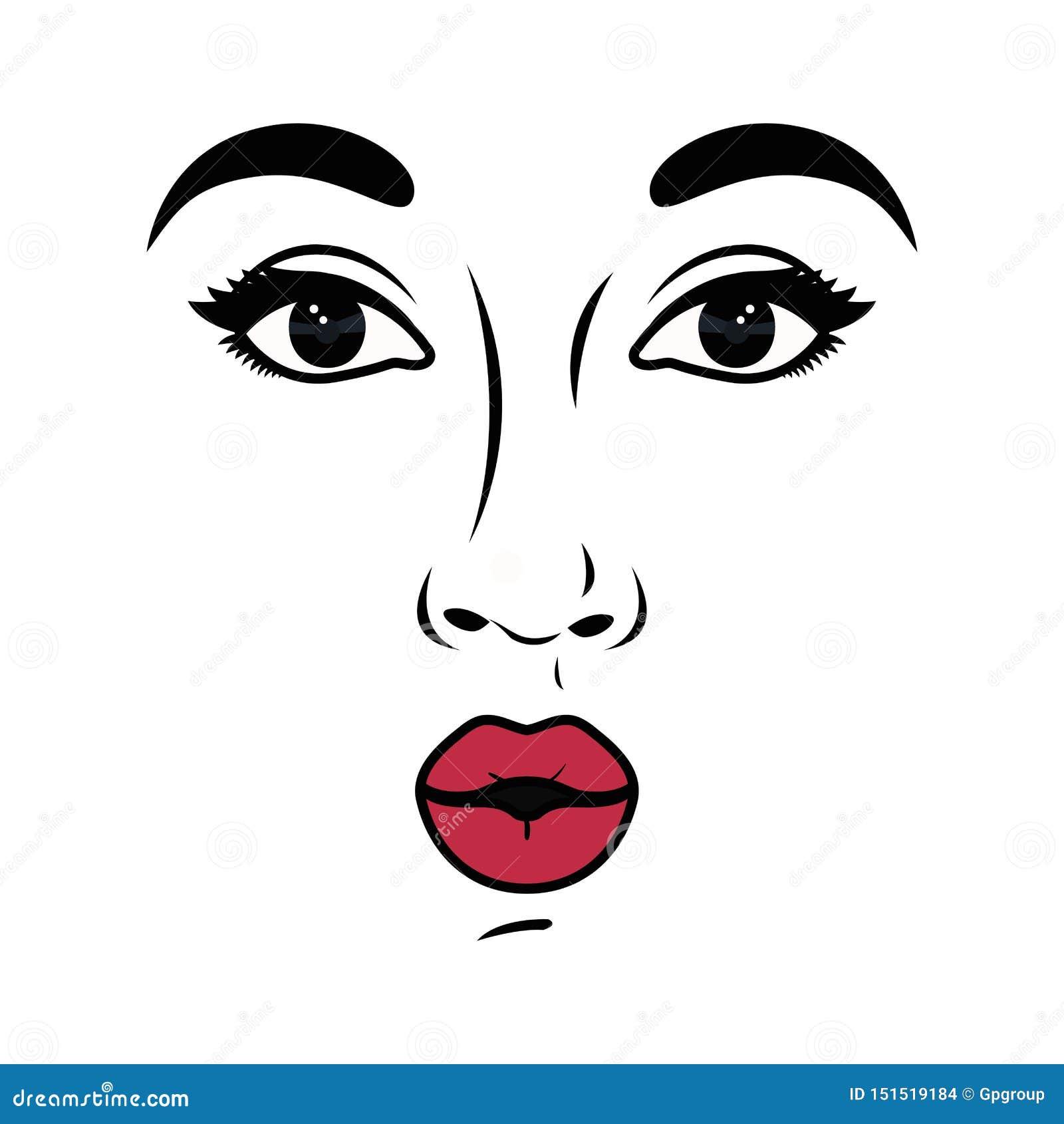 妇女面孔具体化字符