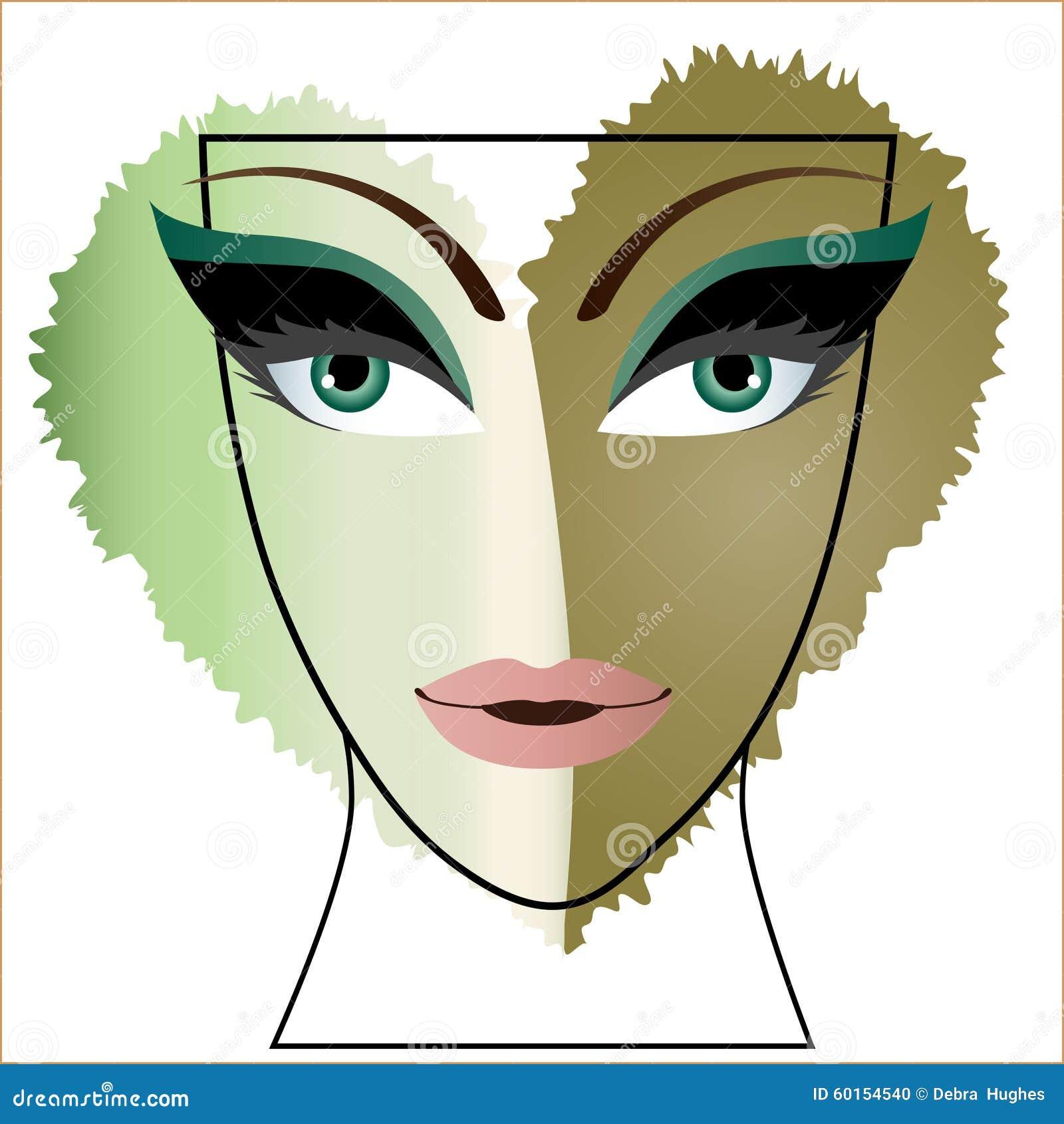 妇女面孔心脏眼睛