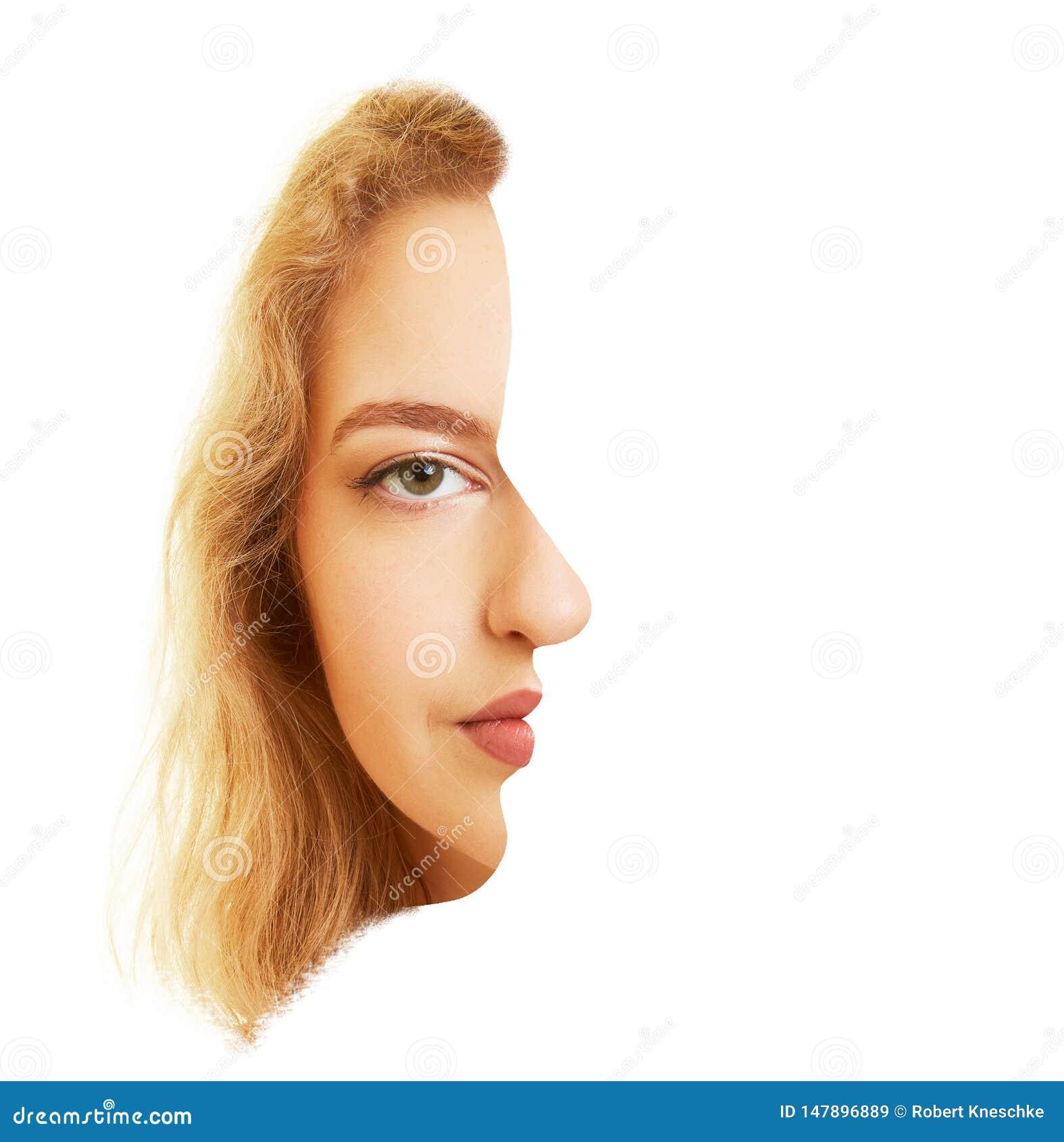 妇女额骨的面孔和侧向地作为错觉