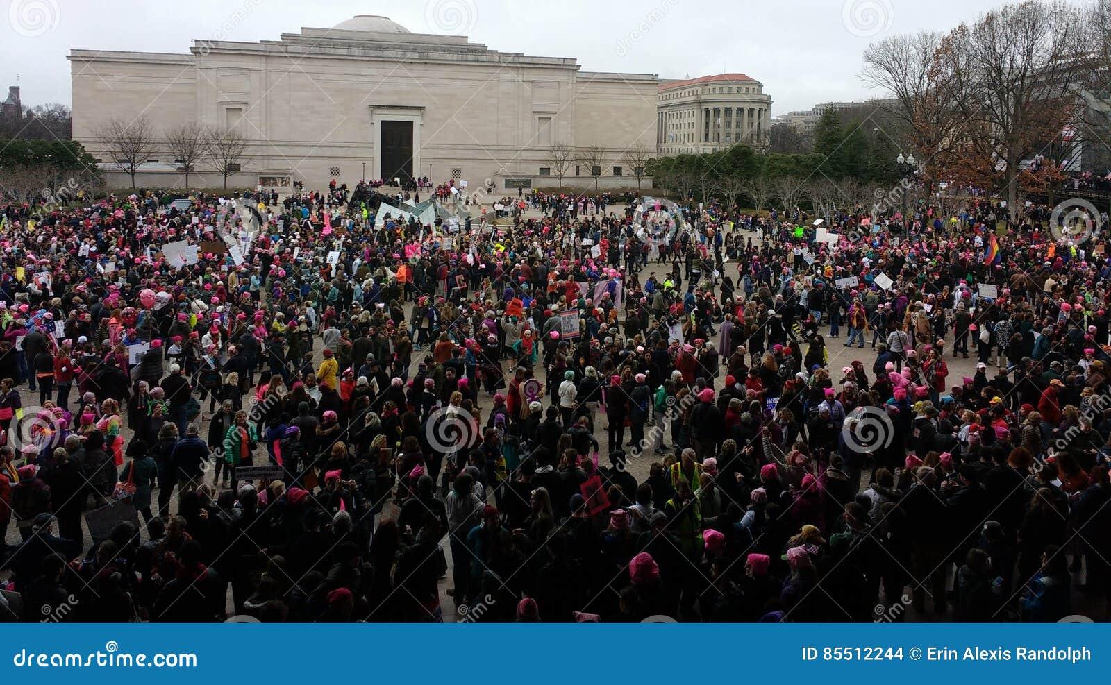 妇女`在华盛顿,抗议者的s 3月在美国国家艺廊东楼,华盛顿特区,美国之外会集