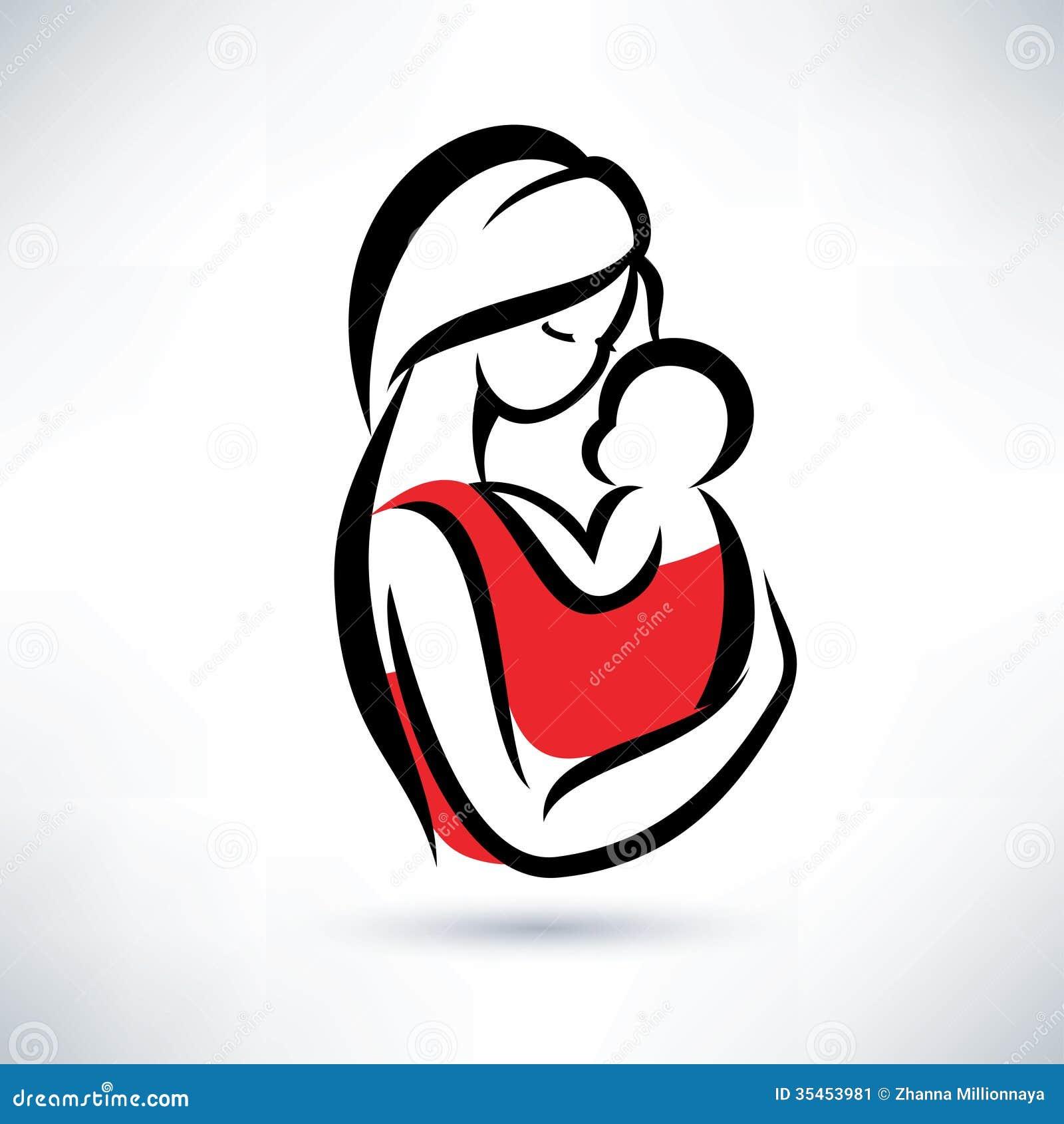 妈妈和婴孩标志