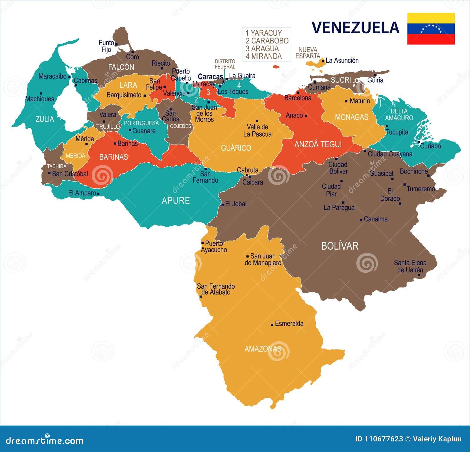 委内瑞拉-地图和旗子详细的传染媒介例证. ,并且, barquisimeto.图片