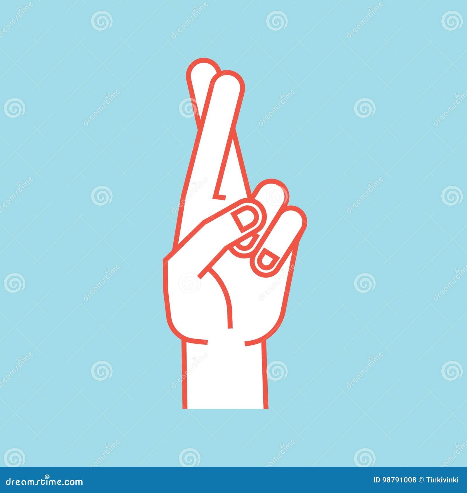 姿态 幸运的符号 有但愿的两的风格化手 在前面的食指