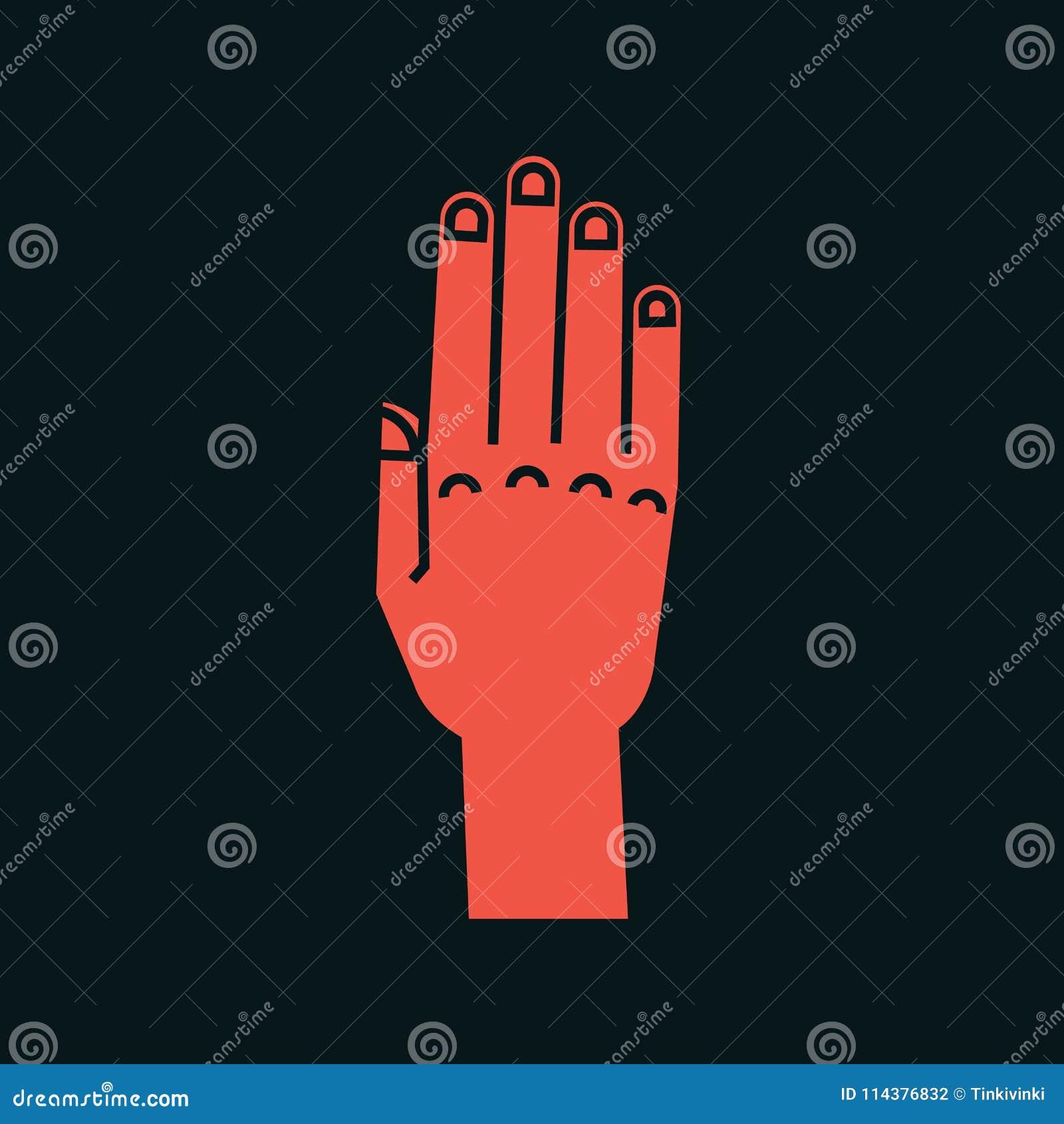 姿态 符号终止 有所有手指的风格化手上升并且连接了 向量 被攻击的 图标