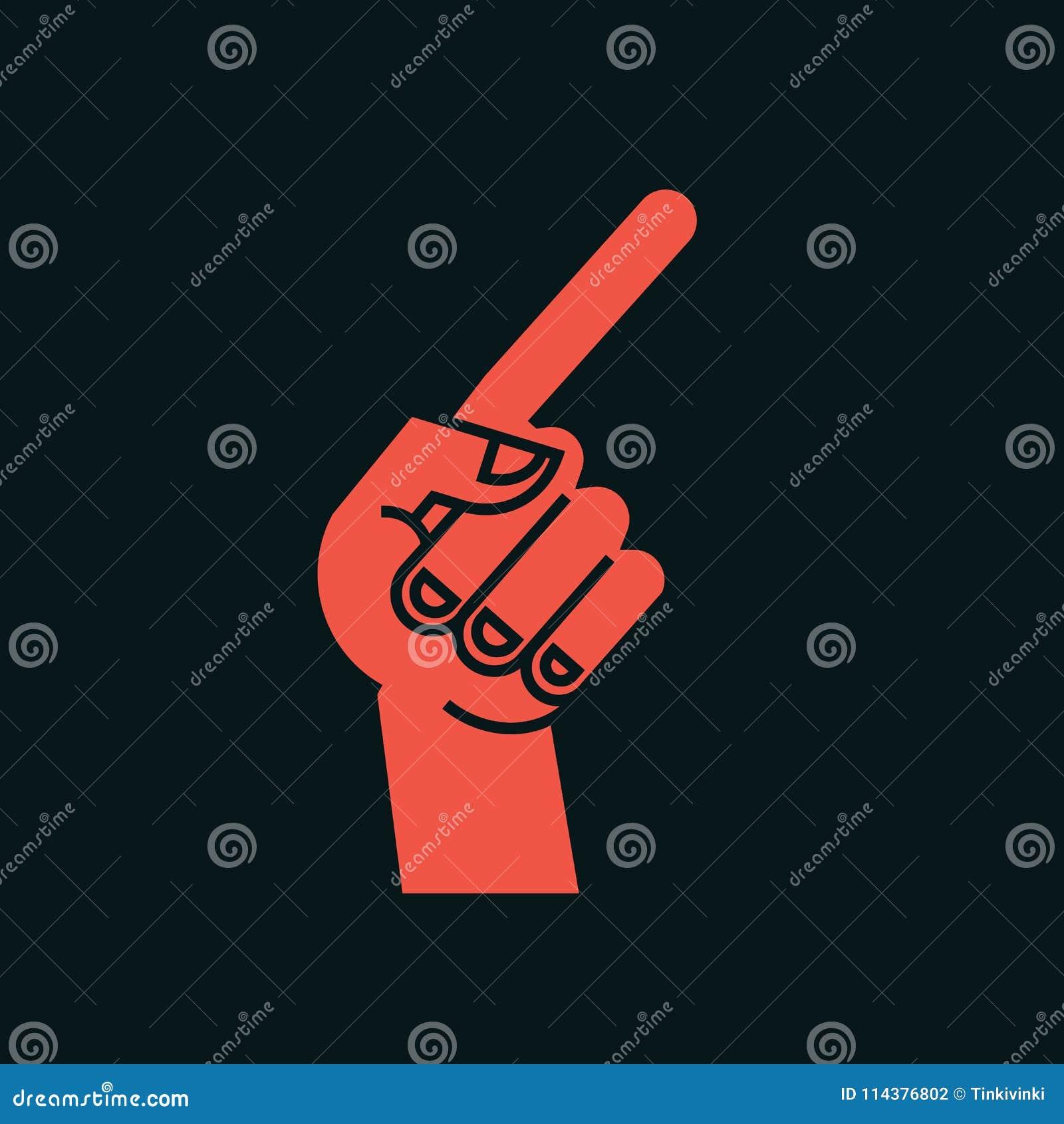 姿态 3d方向照片回报了符号 有食指的风格化手,弯曲的拇指 图标 显示路线 向量
