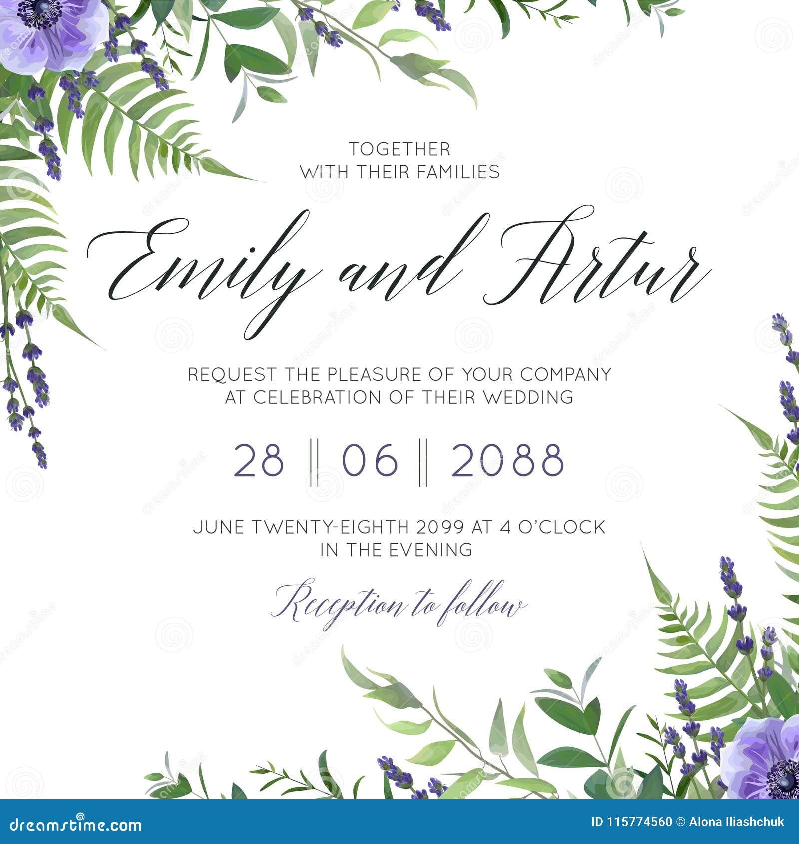 婚姻花卉邀请,邀请救球与水彩淡紫色开花,紫罗兰色银莲花属花,森林gree的日期卡片设计