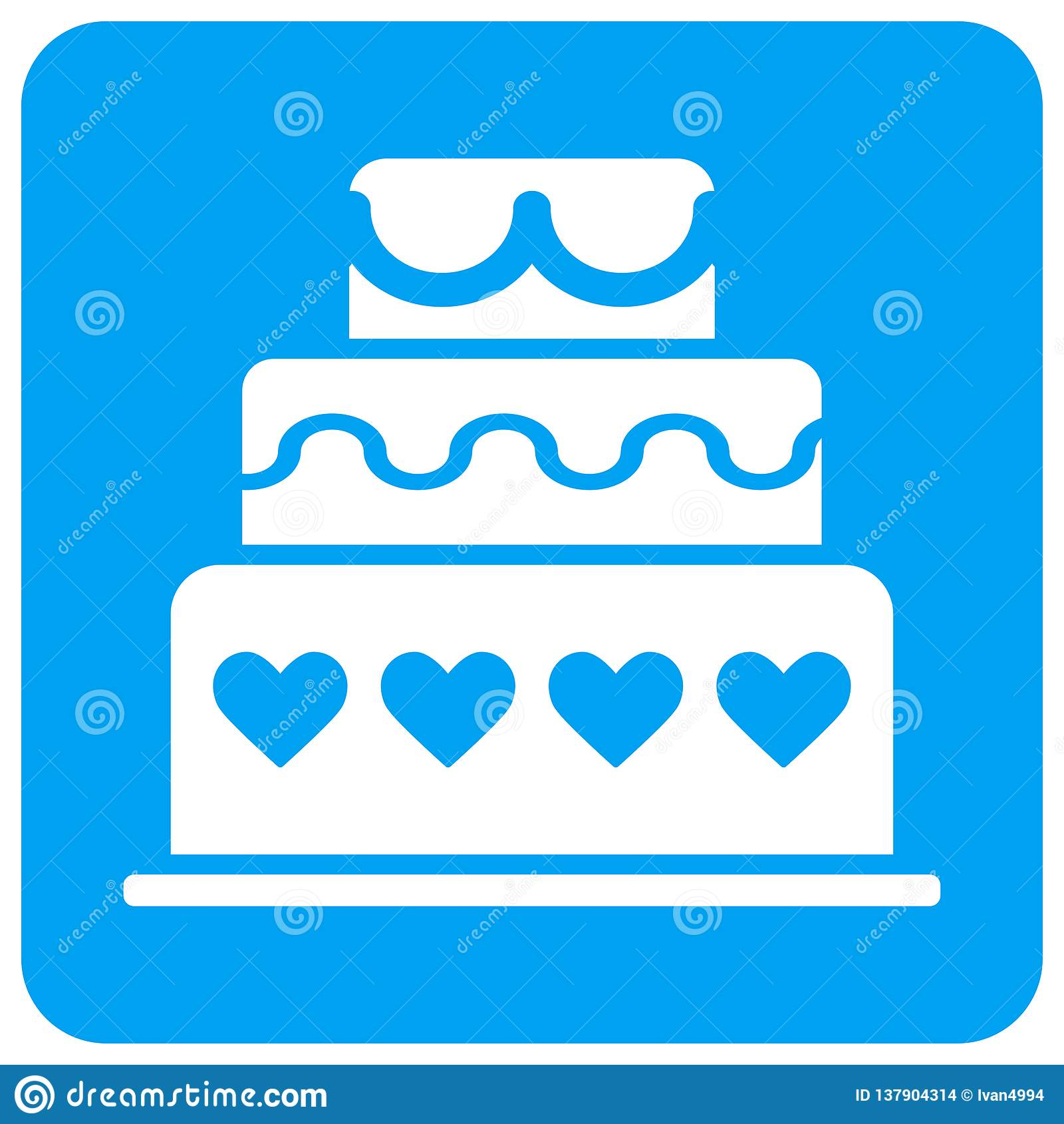 婚姻蛋糕被环绕的方形的光栅象