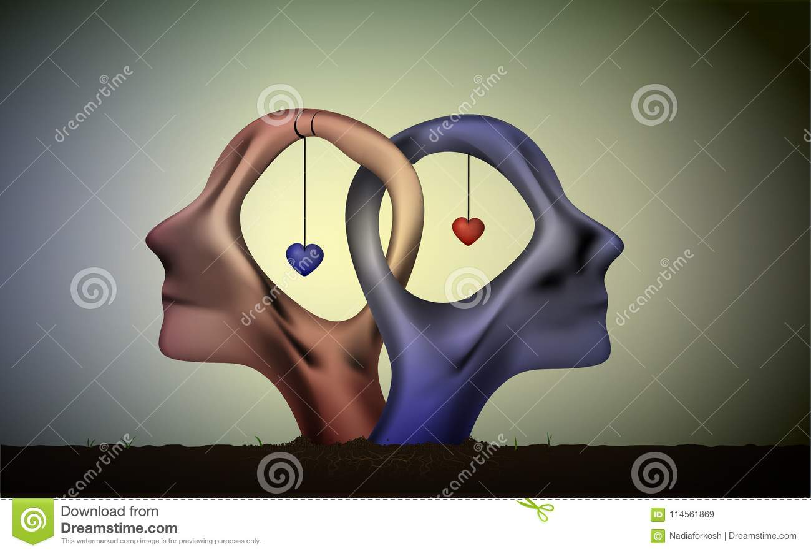婚姻象,人们在爱、蓝色人和红色妇女头朝向在爱,超现实主义的浪漫梦想,一起永远,