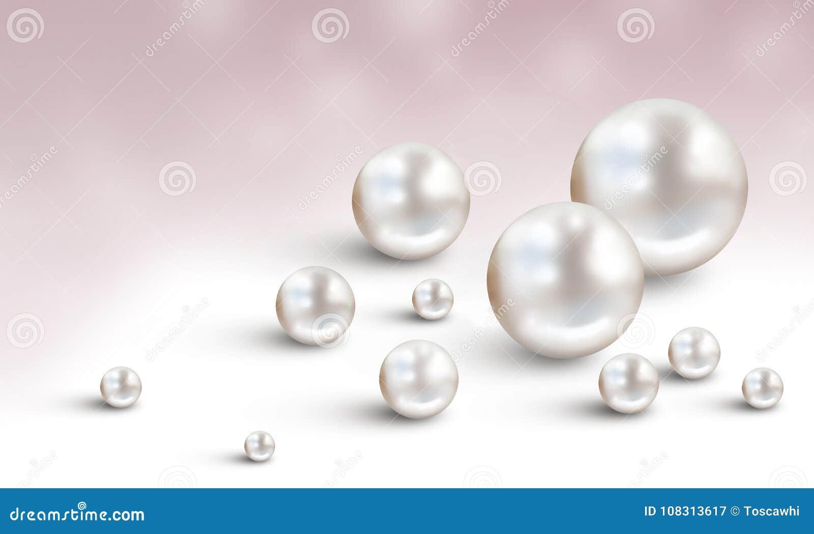 婚礼与在白色和淡紫色背景隔绝的许多小和大白色发光的真珠质珍珠的珍珠背景