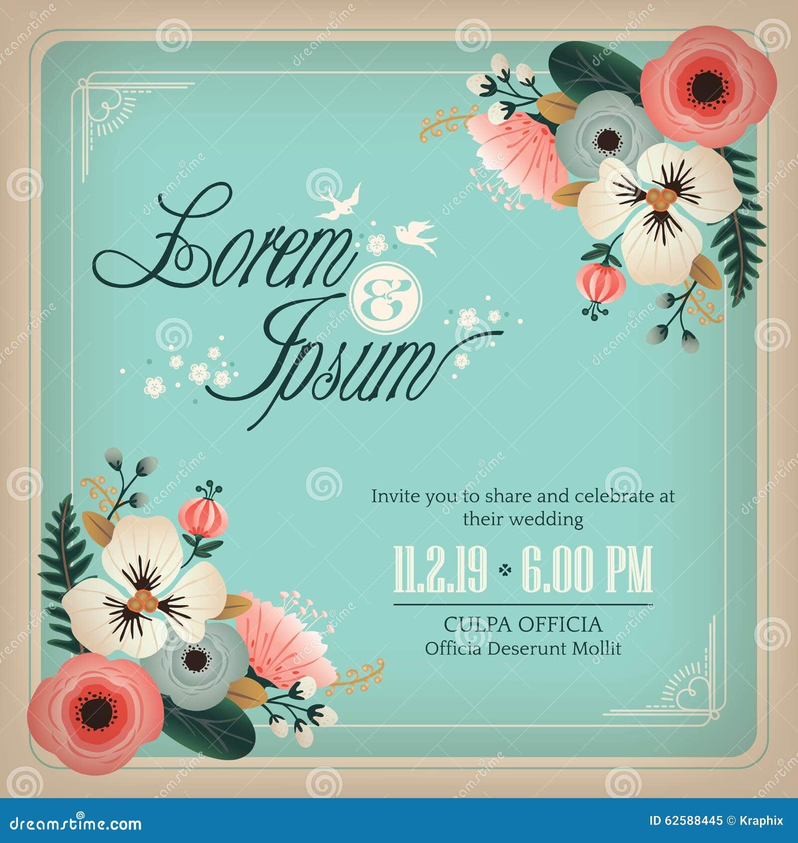 婚礼与花设计框架的邀请卡片