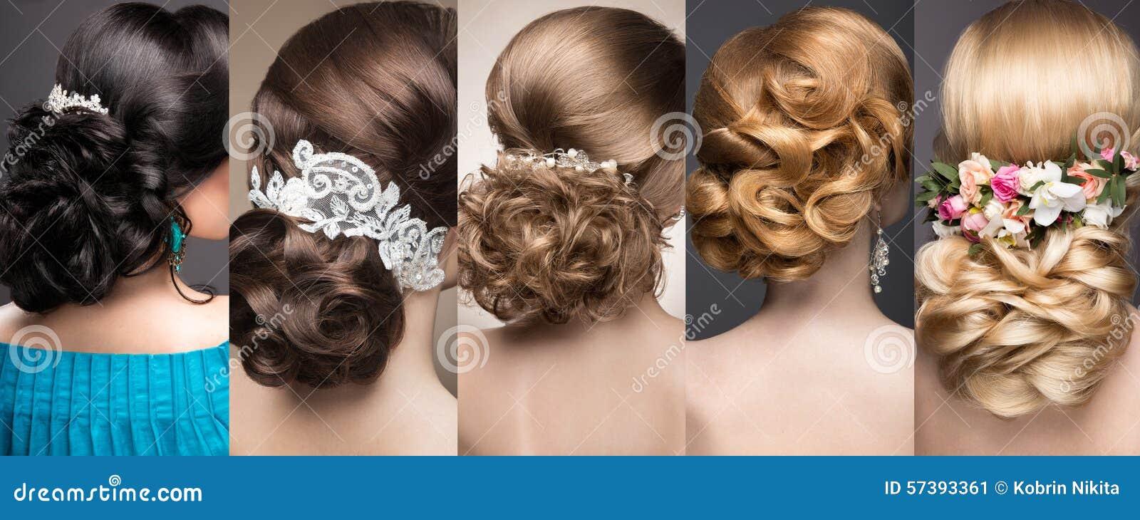 婚礼发型的汇集 美丽的女孩 秀丽头发