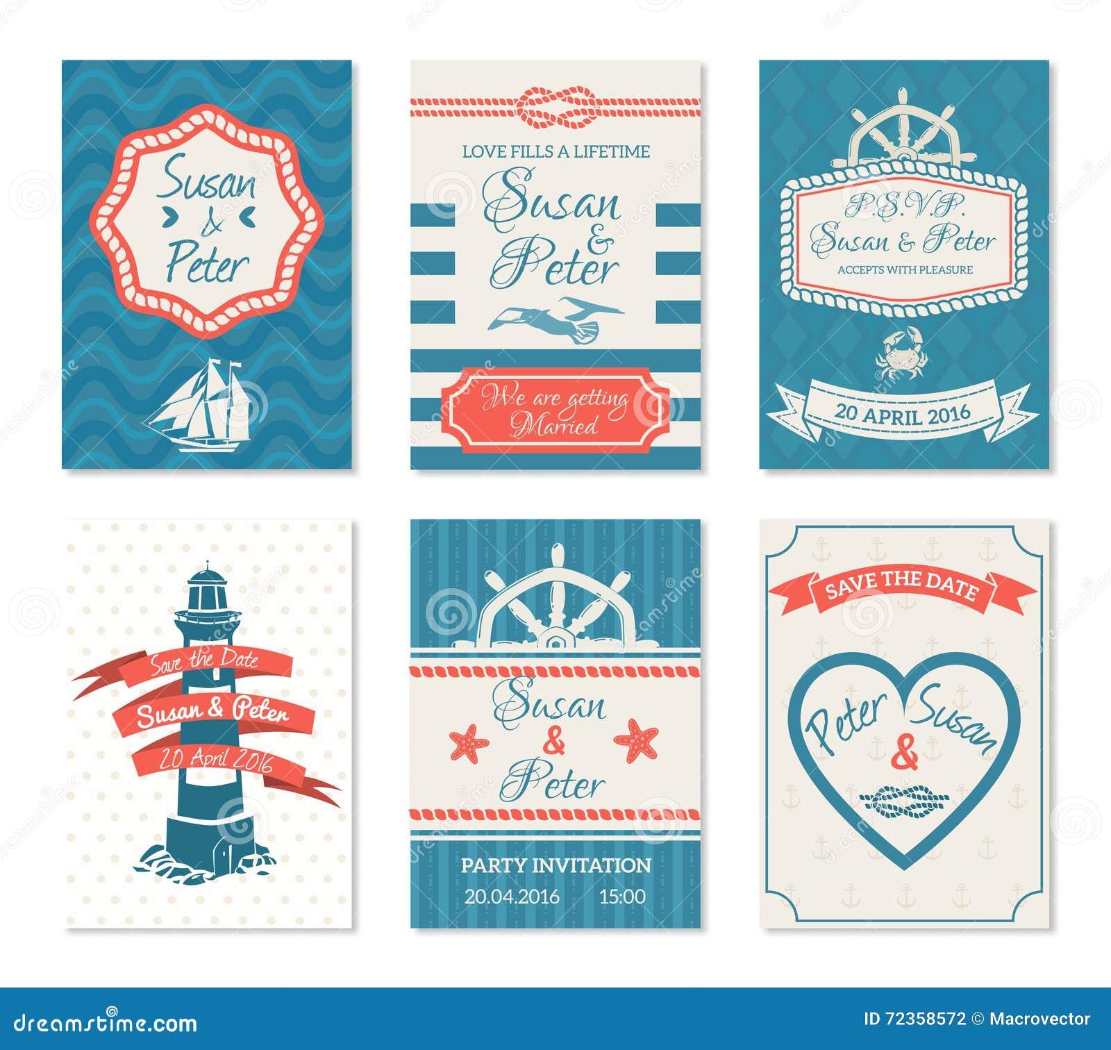 婚礼在船舶样式的邀请卡片