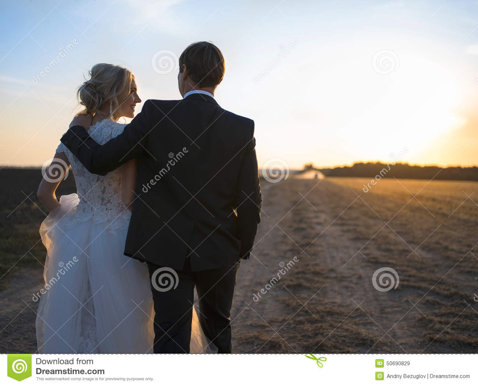 Download 年轻婚礼夫妇谈话在领域在日落 库存图片. 图片 包括有 表示, 丈夫, 系列, 新婚佳偶, 异性爱, 水平 - 50690829