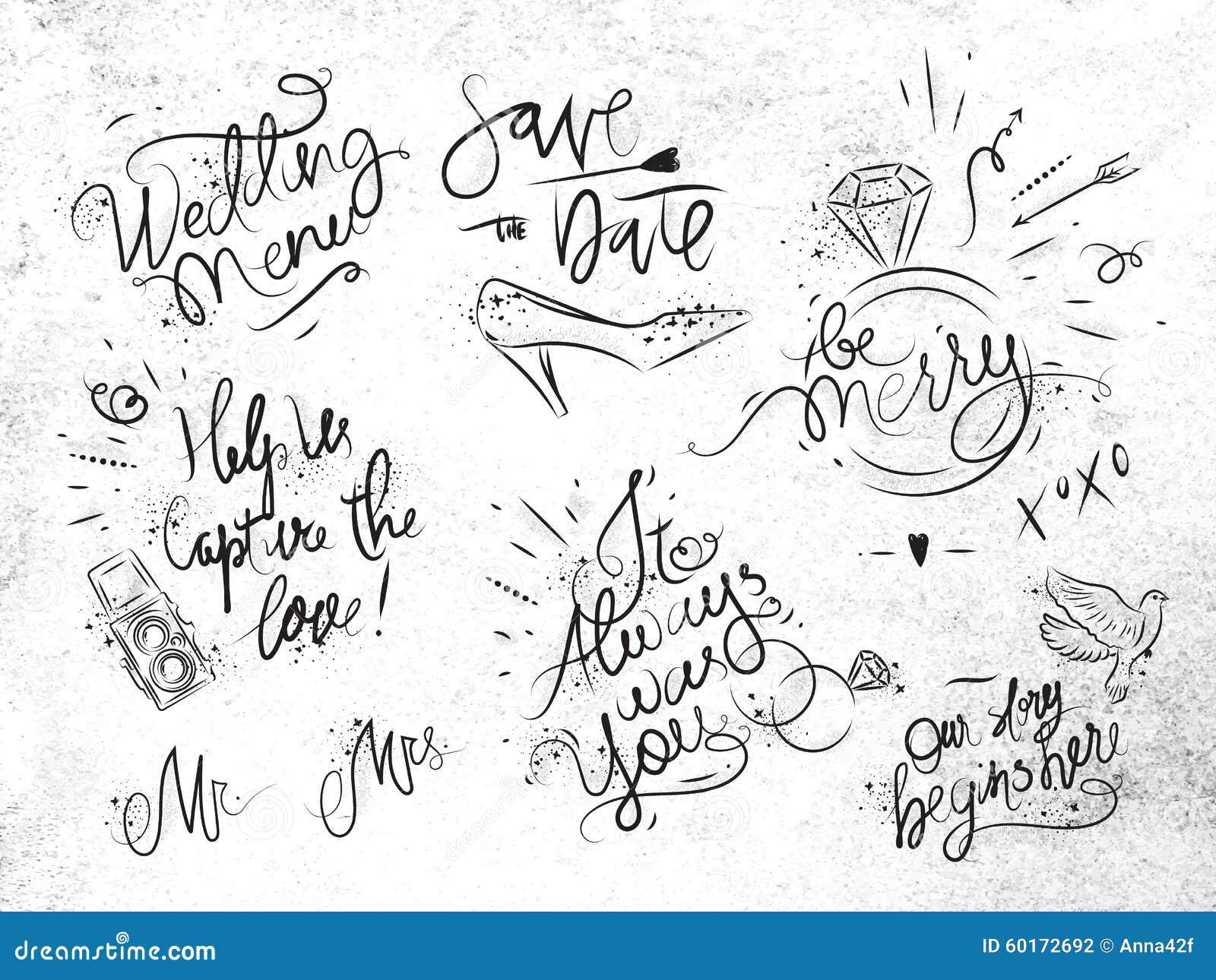 套在婚礼题材图画的标志与贷方在肮脏的纸.图片